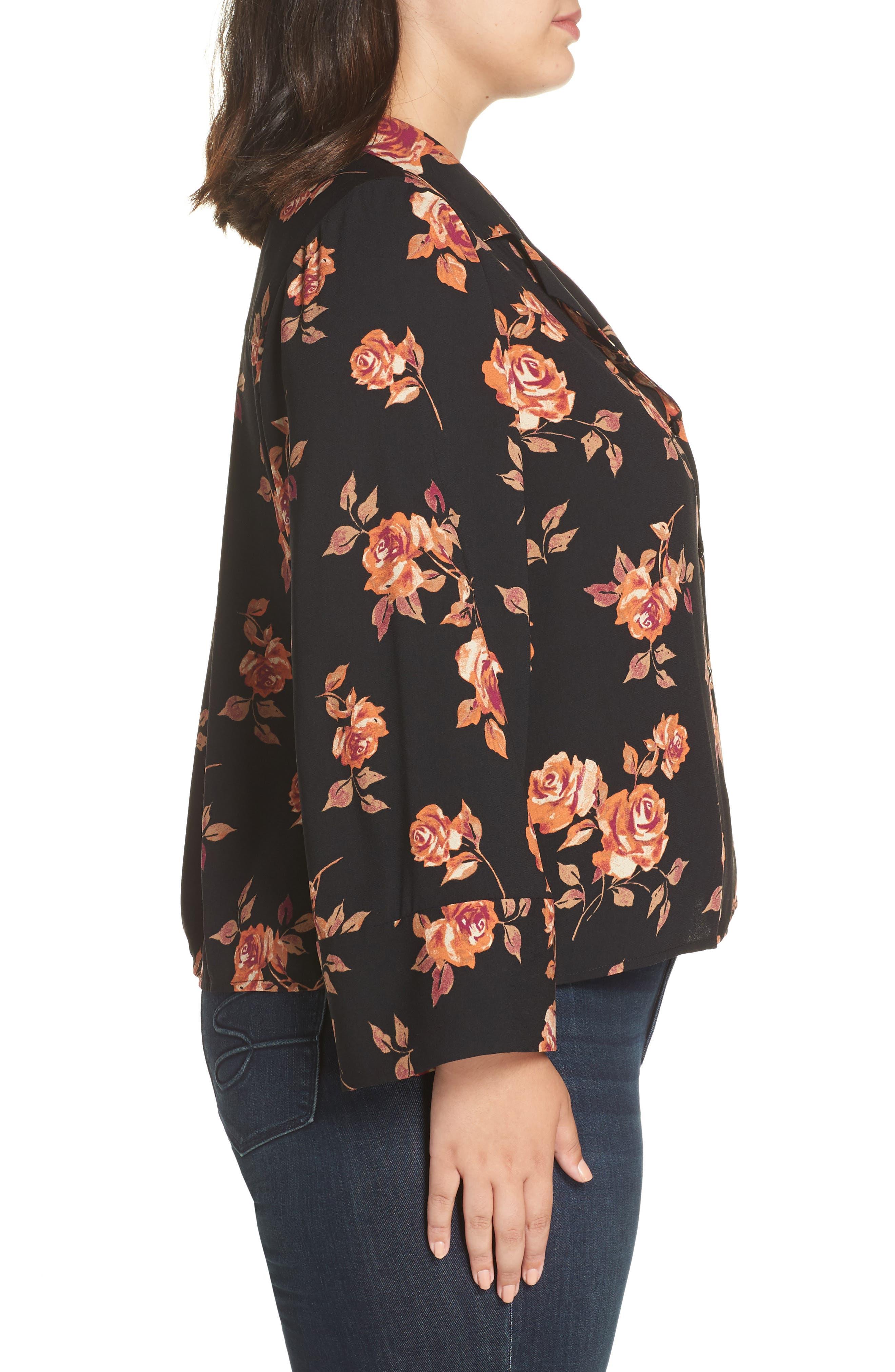 Notched Collar Floral Print Shirt,                             Alternate thumbnail 3, color,                             BLACK POP FLORAL