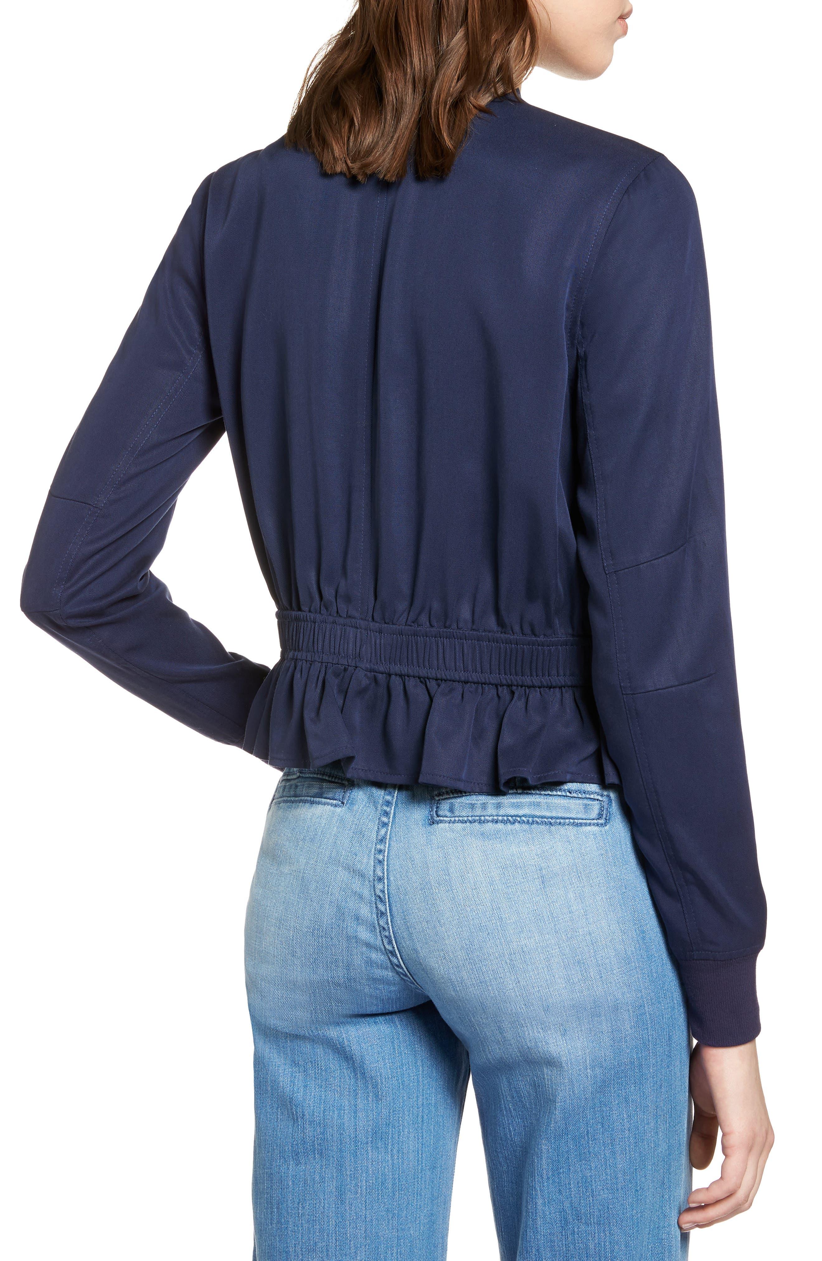 Ruffle Hem Zip Front Jacket,                             Alternate thumbnail 2, color,                             410