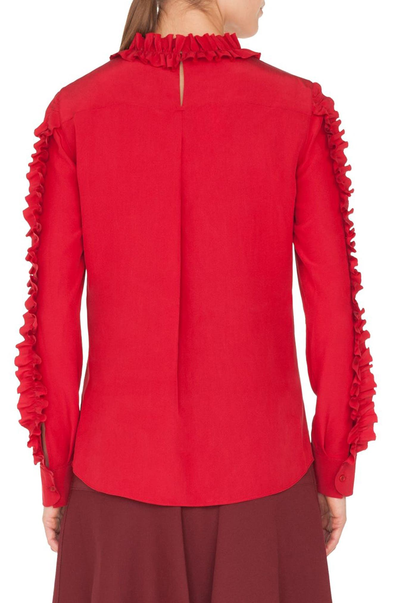 Ruched Silk Blouse,                             Alternate thumbnail 2, color,                             600