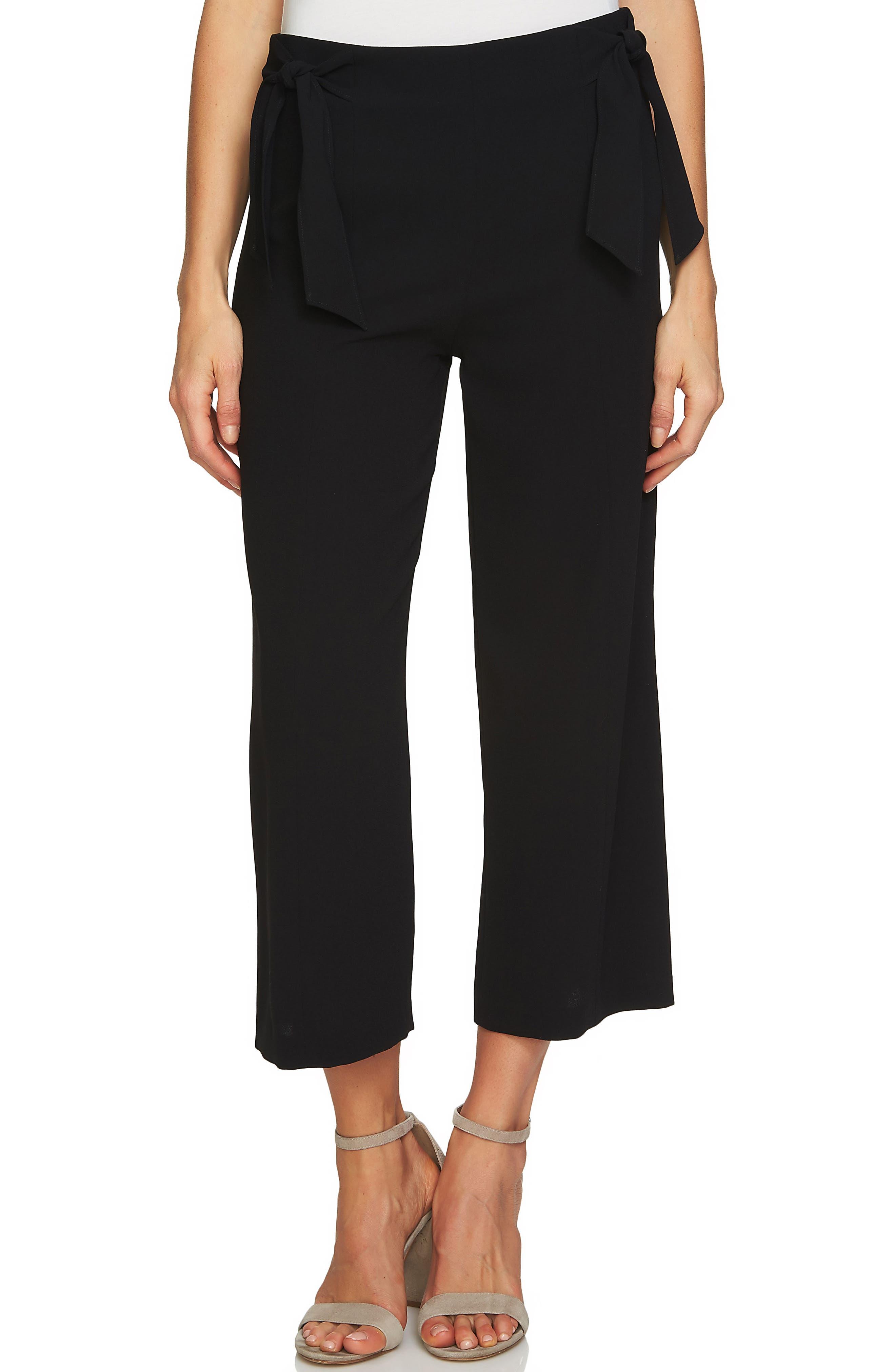 Side Tie Crop Pants,                             Main thumbnail 1, color,                             RICH BLACK