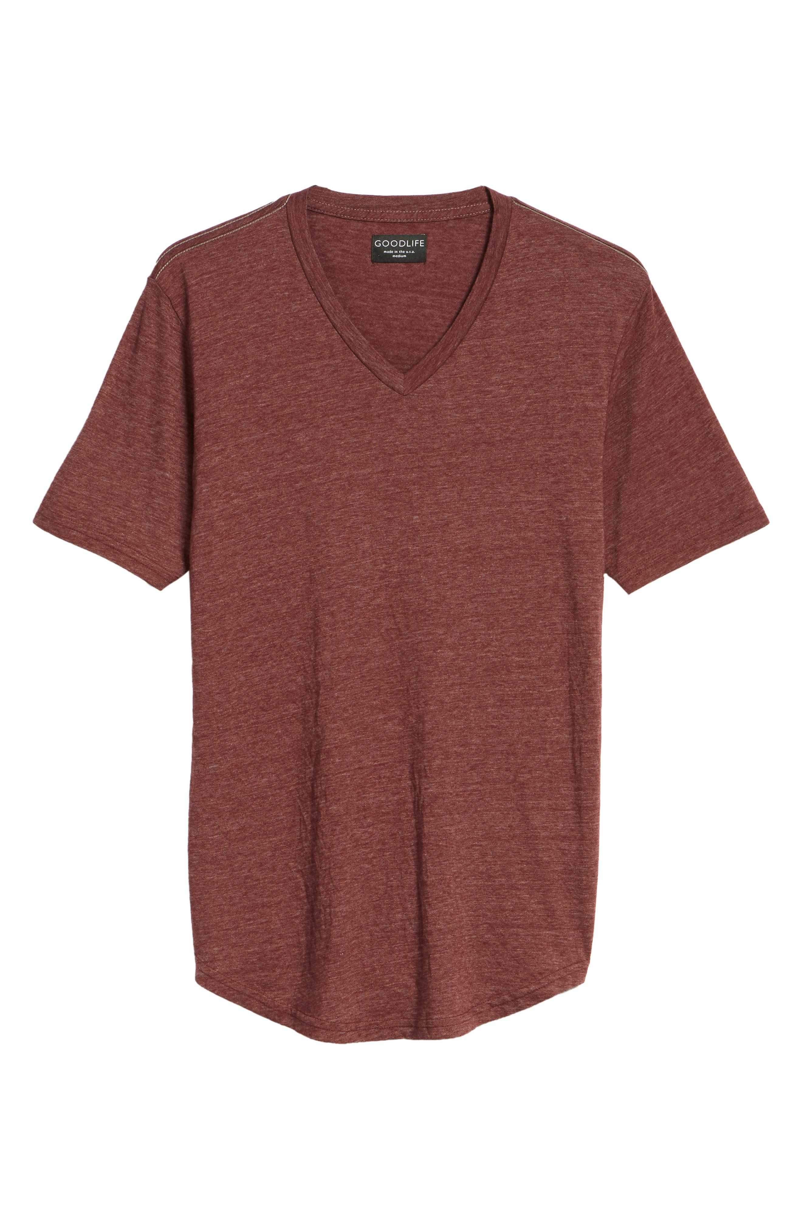Scallop Triblend V-Neck T-Shirt,                             Alternate thumbnail 135, color,
