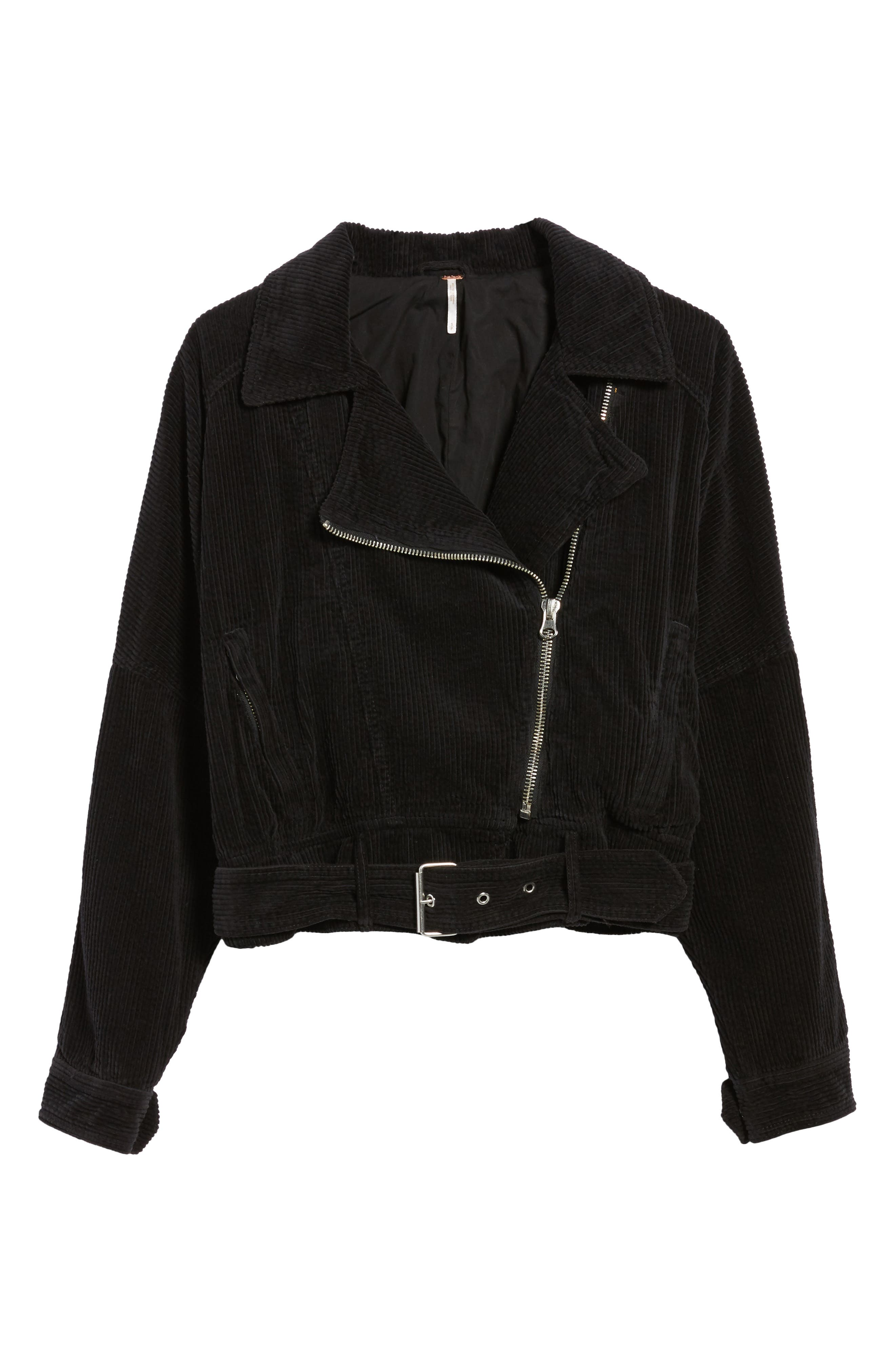 Slouchy Dolman Moto Jacket,                             Alternate thumbnail 5, color,                             001