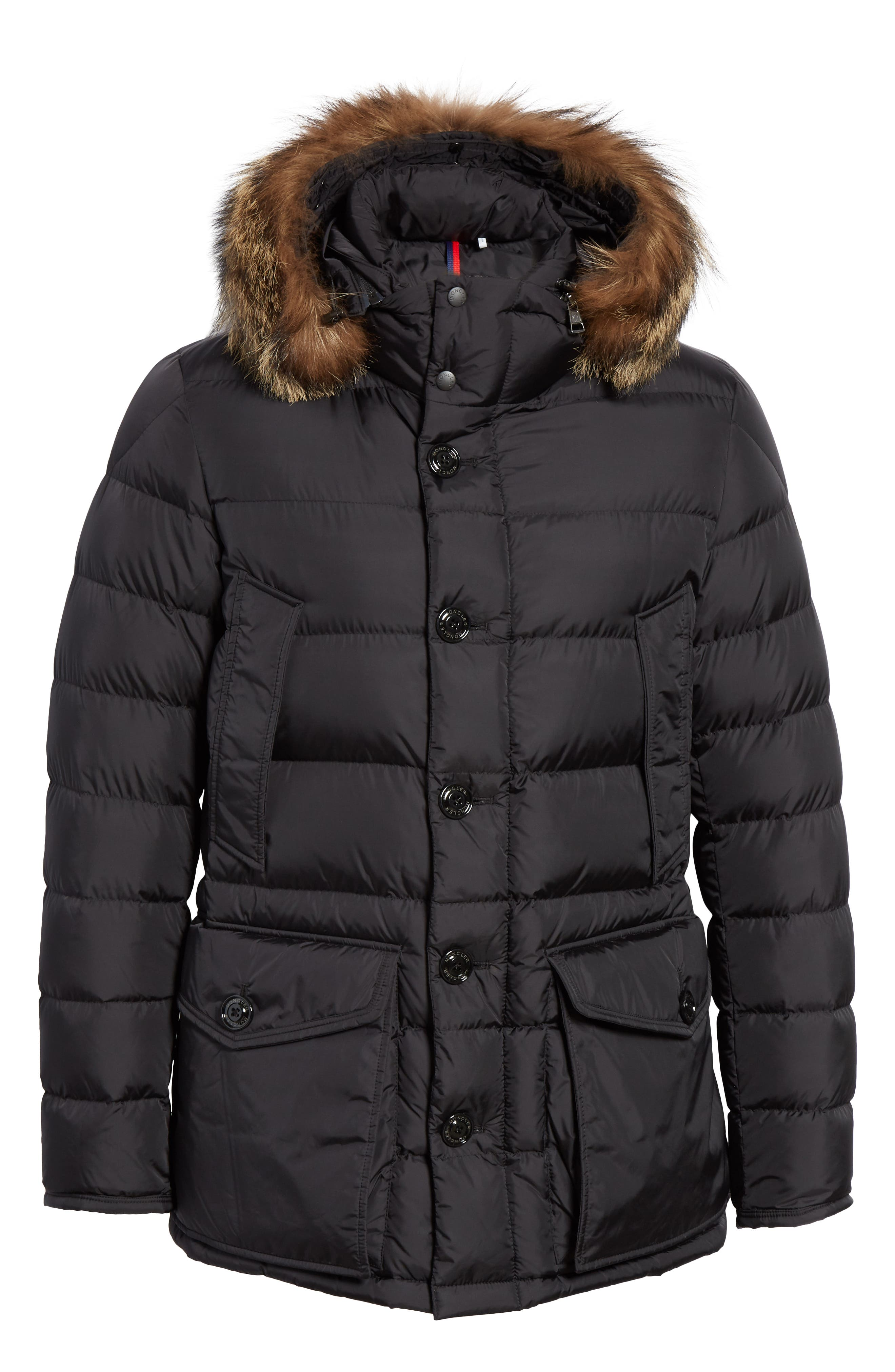 Cluny Giubbotto Down Parka with Genuine Coyote Fur Trim,                             Alternate thumbnail 5, color,                             001