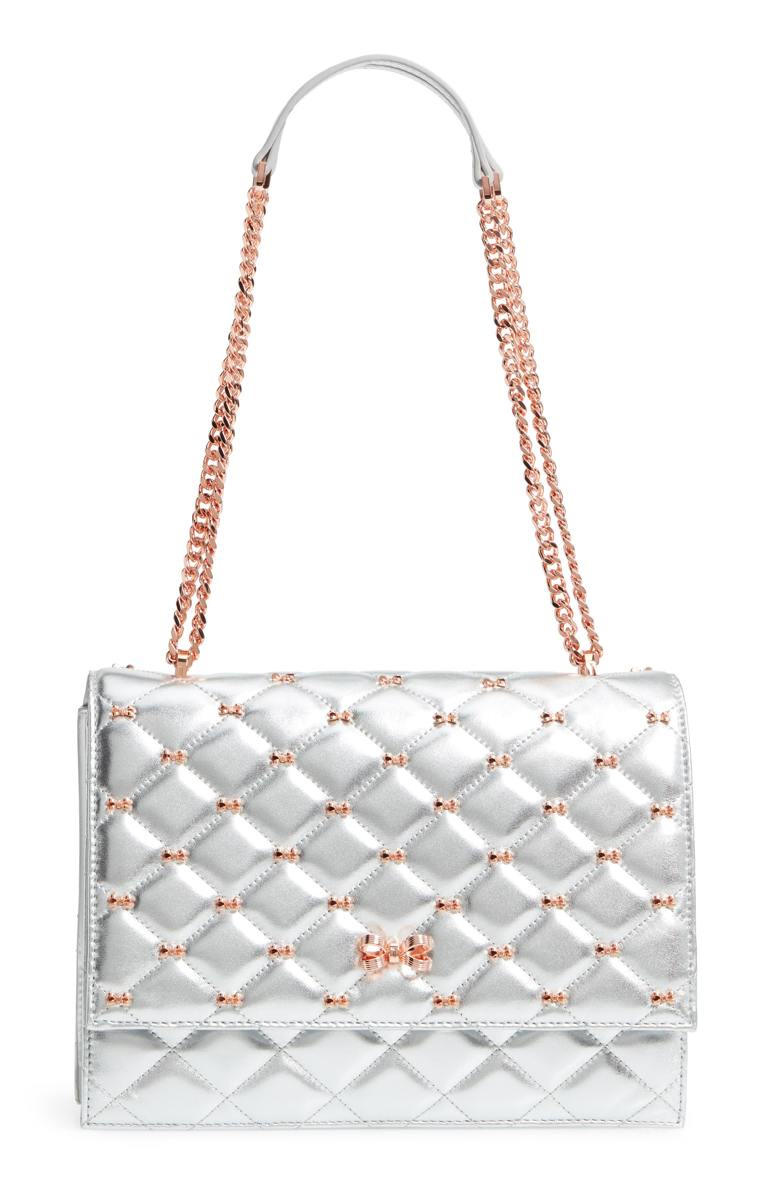 Bow Quilted Leather Shoulder Bag,                             Main thumbnail 1, color,                             SILVER