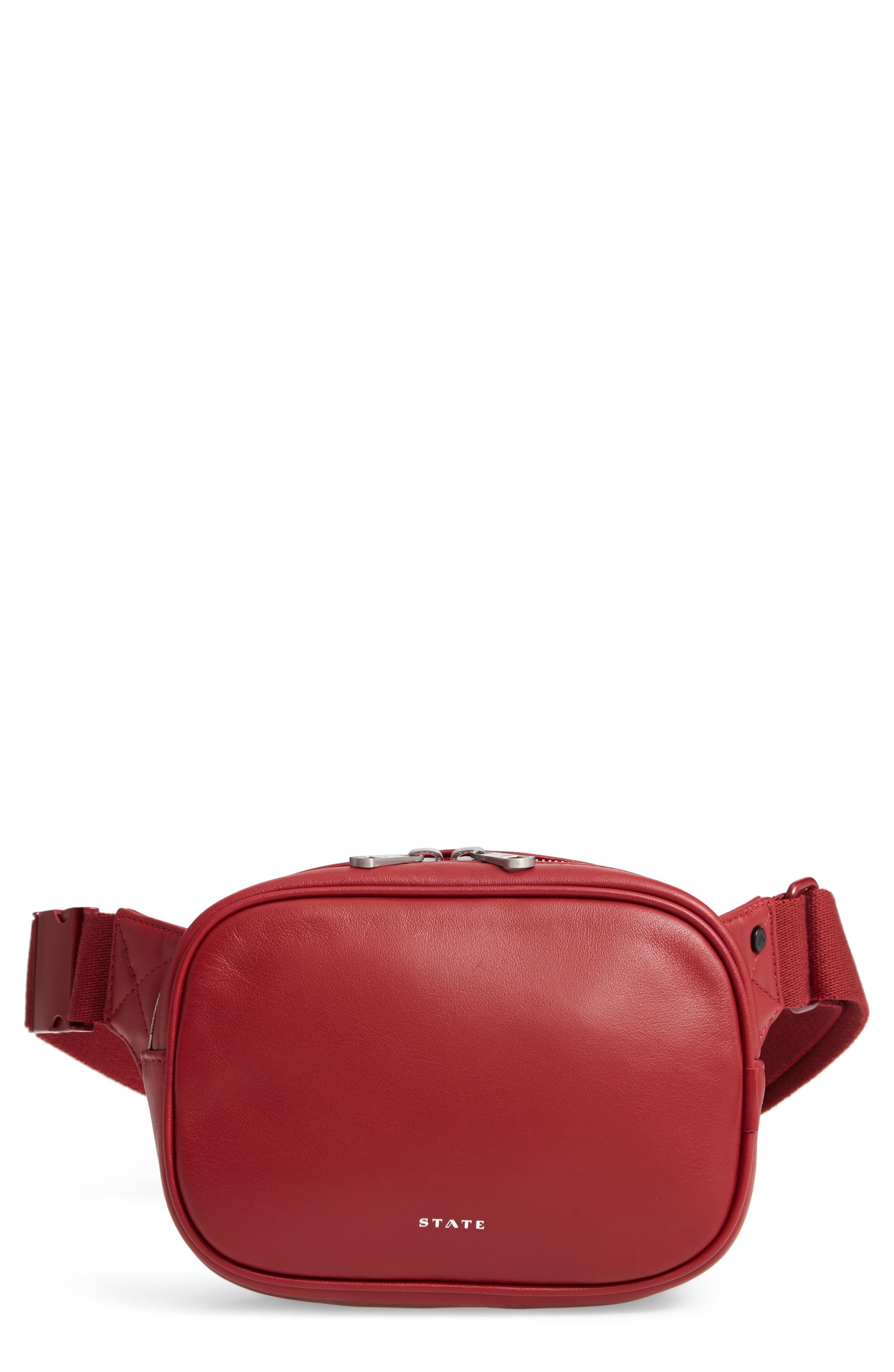 STATE Homecrest Crosby Leather Belt Bag - Red in Red Dahlia