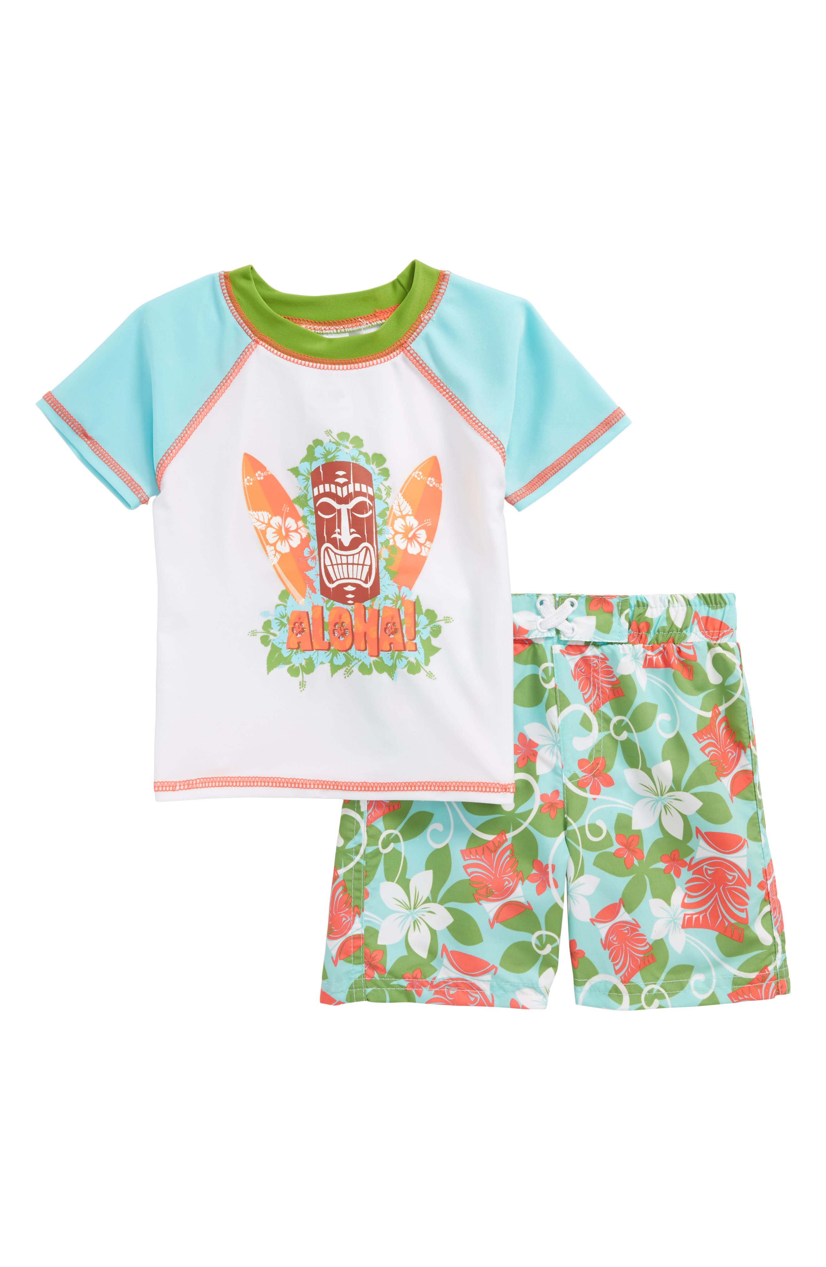 Aloha Tiki Two-Piece Rashguard Swimsuit,                             Main thumbnail 1, color,                             109