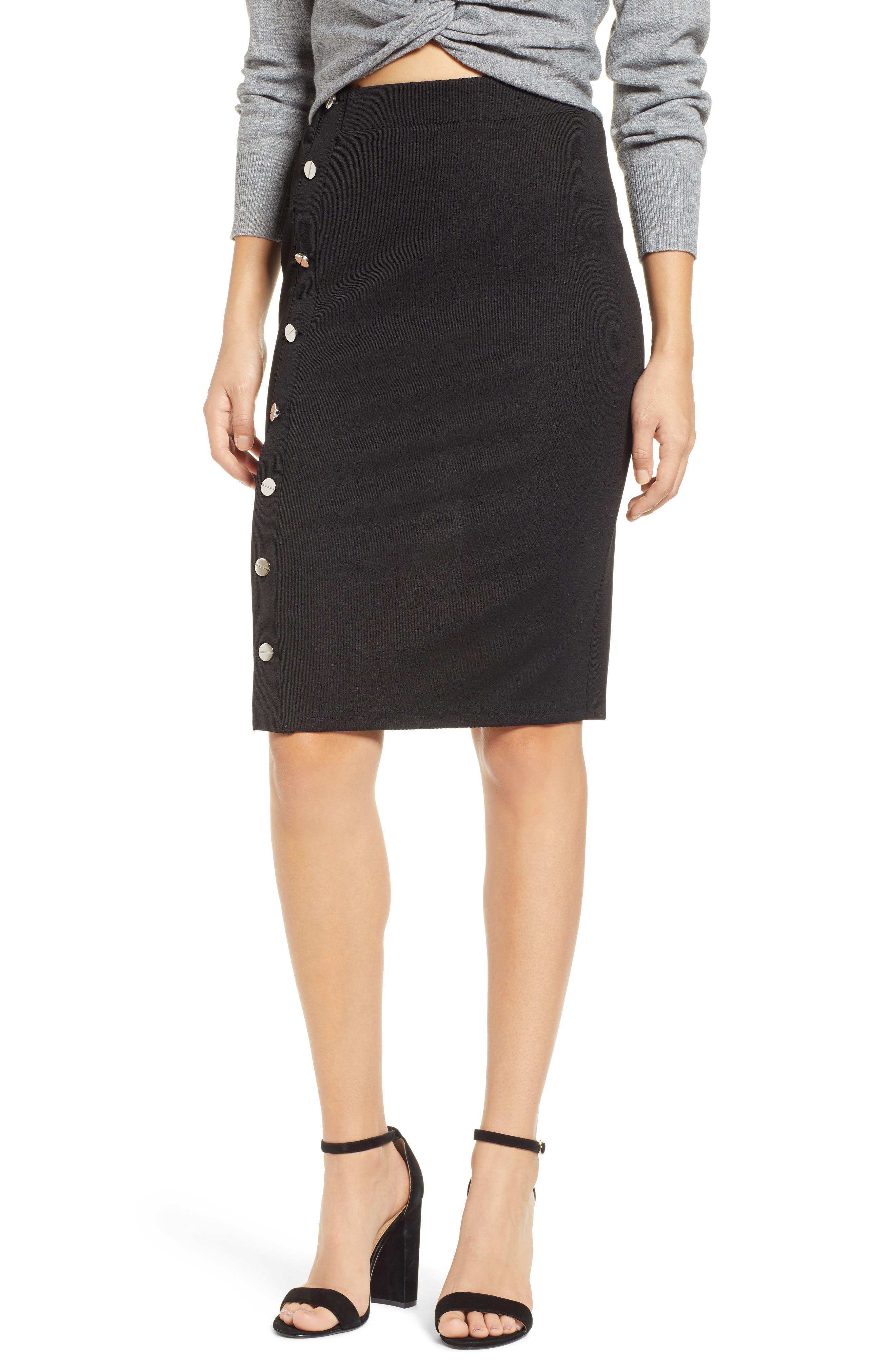 JOA Button Detail Knit Skirt in Black