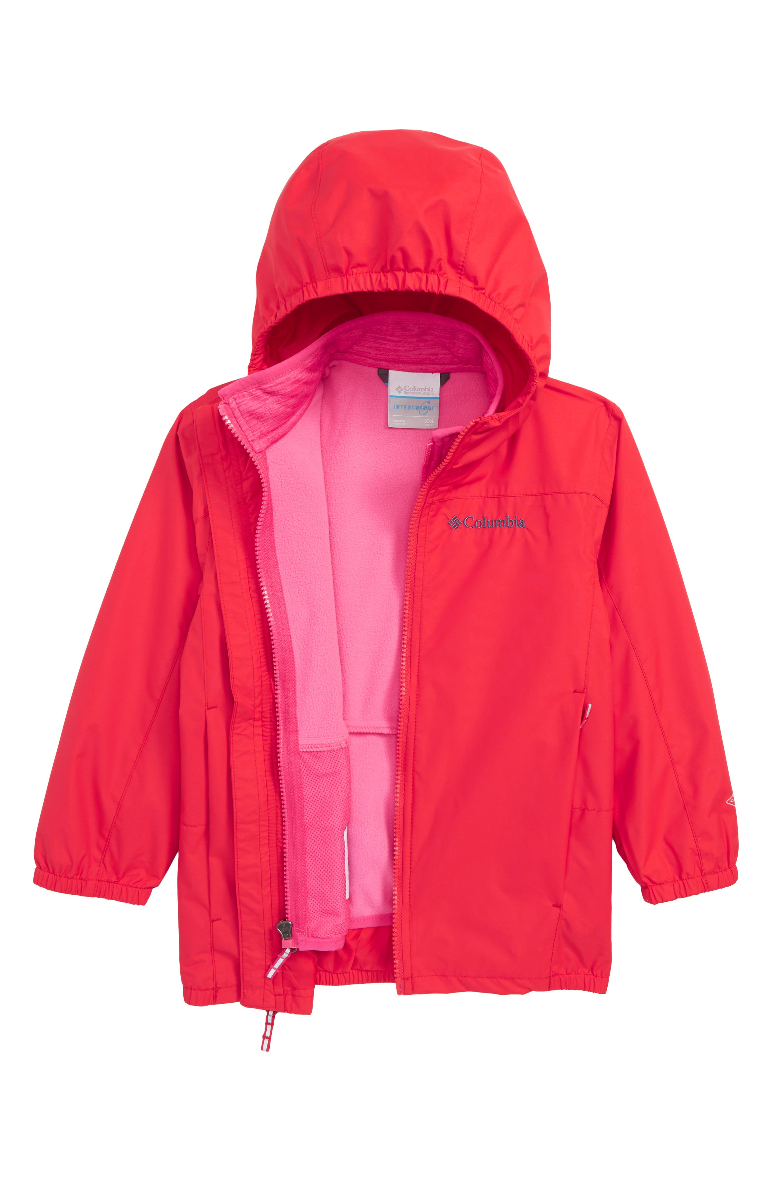 Explore S'more Omni-Tech<sup>™</sup> Waterproof 3-in-1 Jacket,                             Main thumbnail 1, color,                             RED SPARK DARK HEATHER