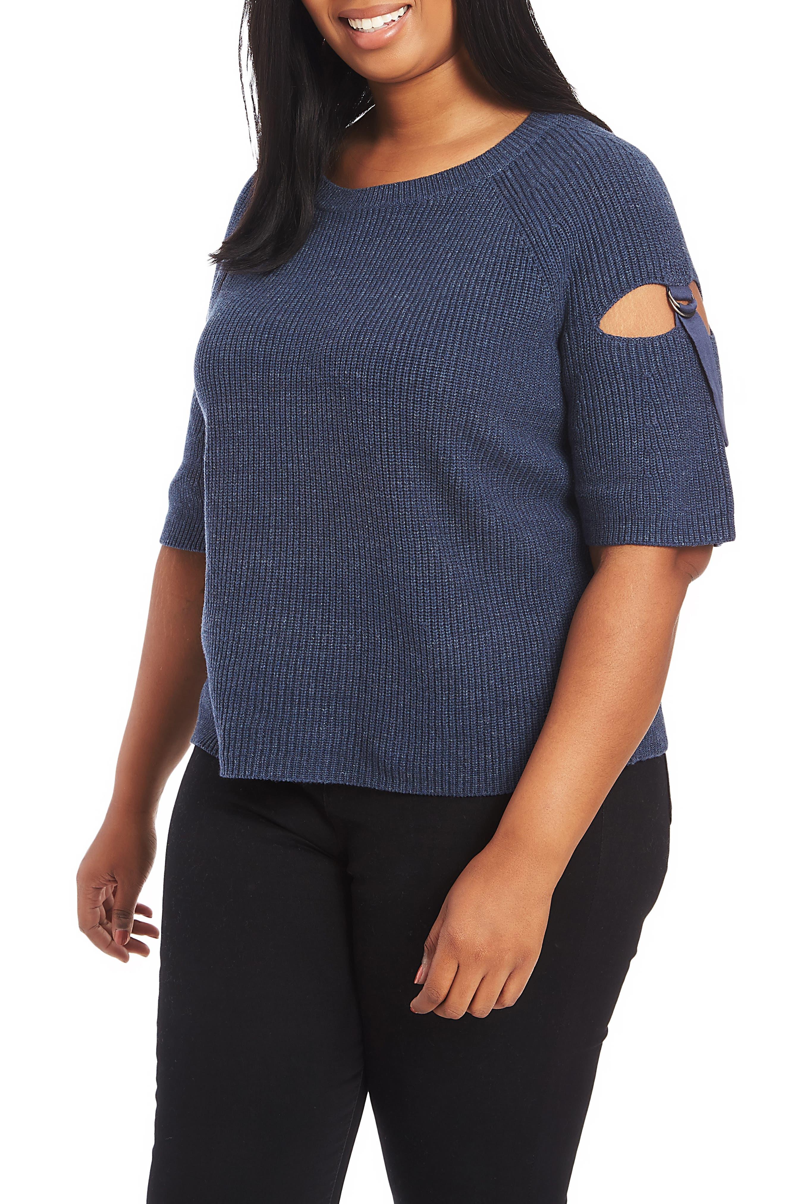 Plus Size 1.state Keyhole Cutout Sleeve Sweater, Blue