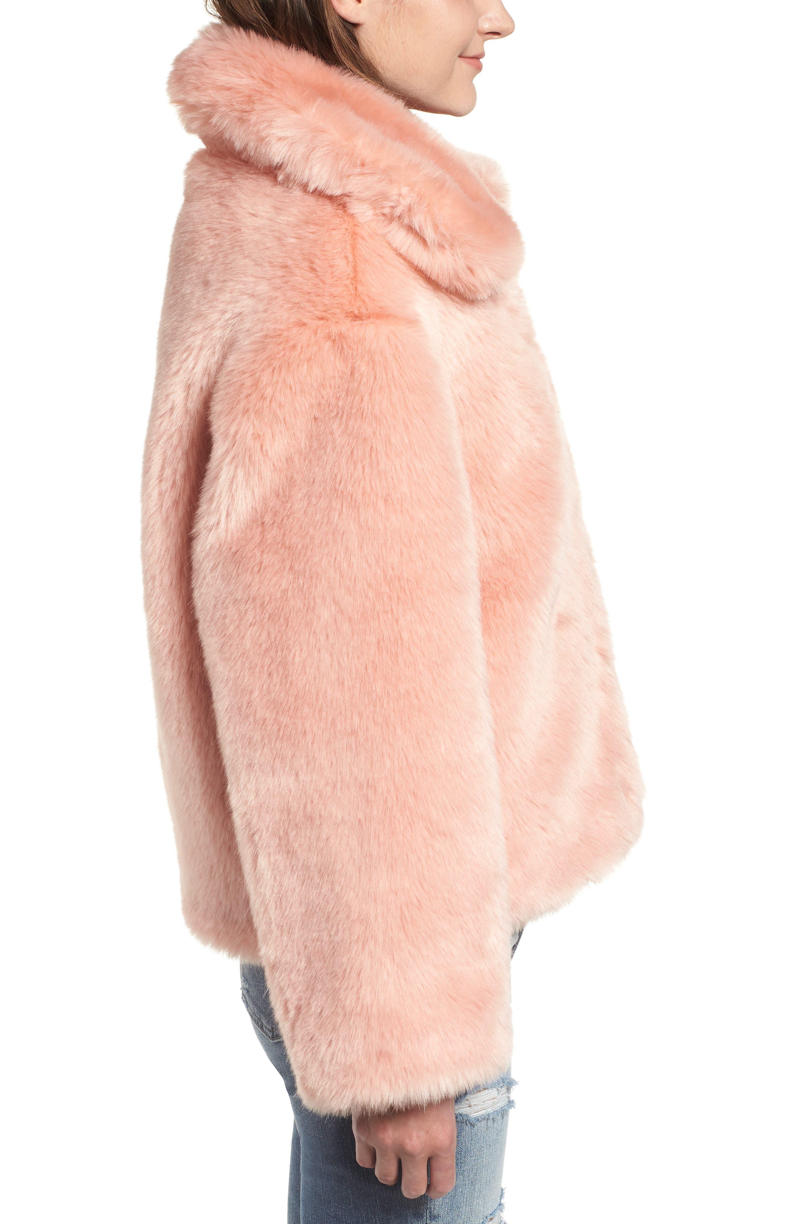 Boxy Faux Fur Coat,                             Alternate thumbnail 3, color,                             CHERRY BLOSSOM