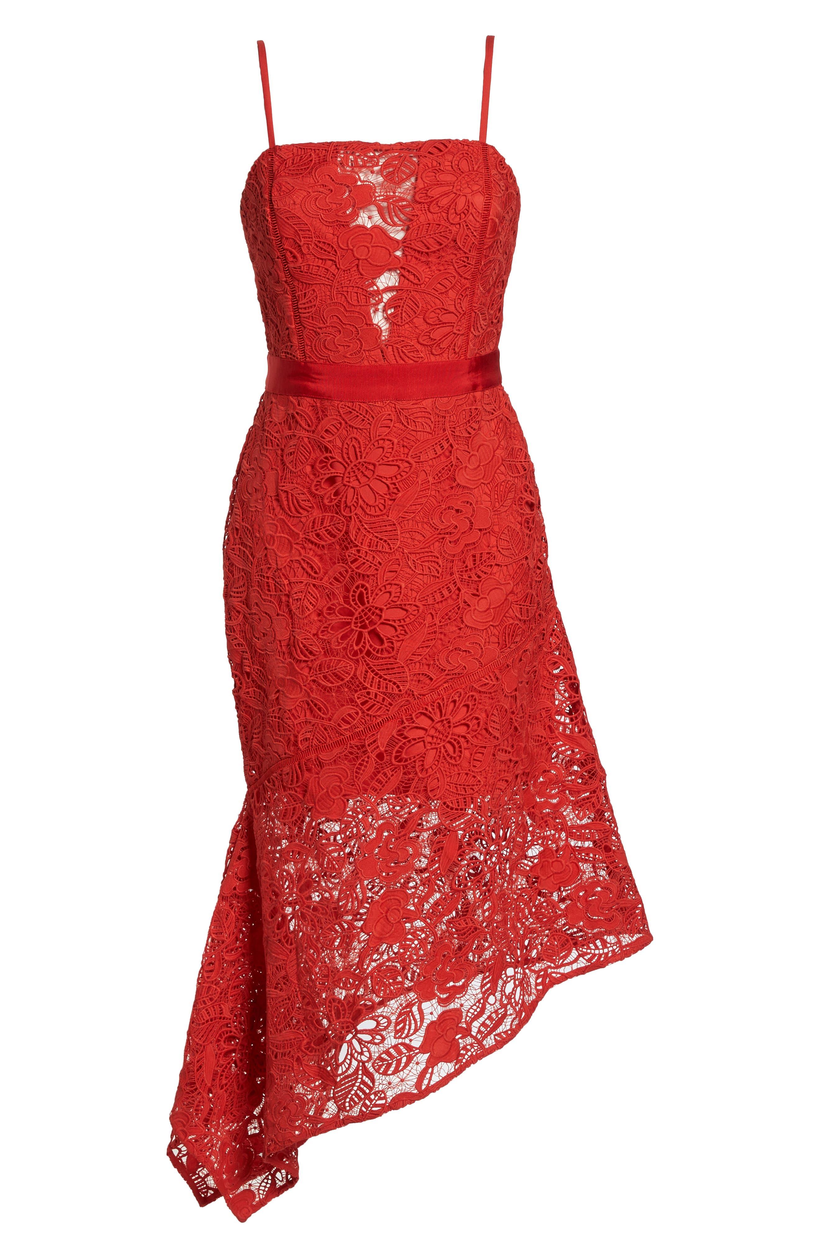 Asymmetrical Hem Lace Dress,                             Alternate thumbnail 7, color,                             600