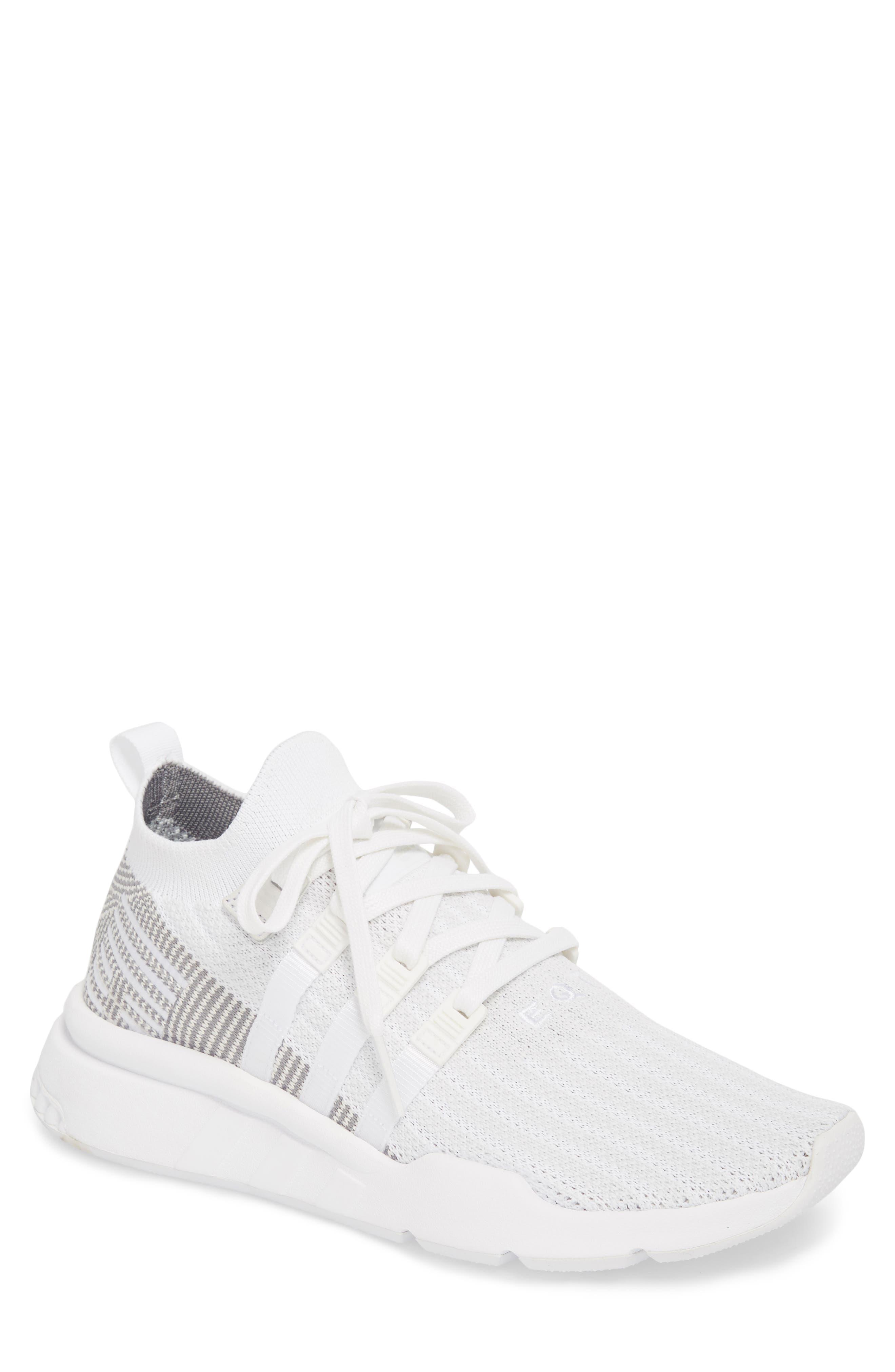 EQT Support Mid ADV Primeknit Sneaker,                             Main thumbnail 1, color,                             WHITE/ WHITE/ GREY