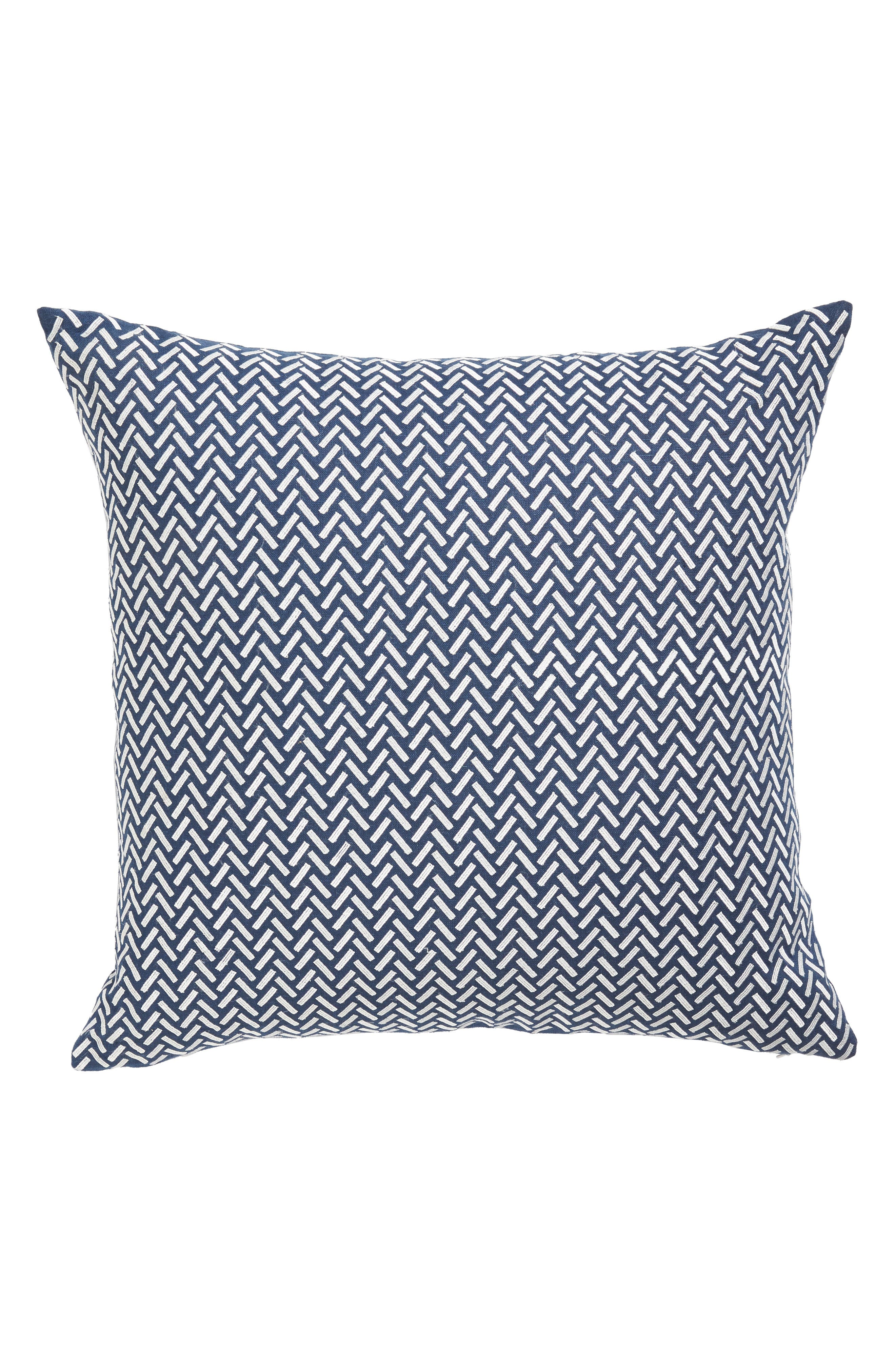 Corana Linen Pillow,                             Main thumbnail 1, color,                             NAVY/WHITE