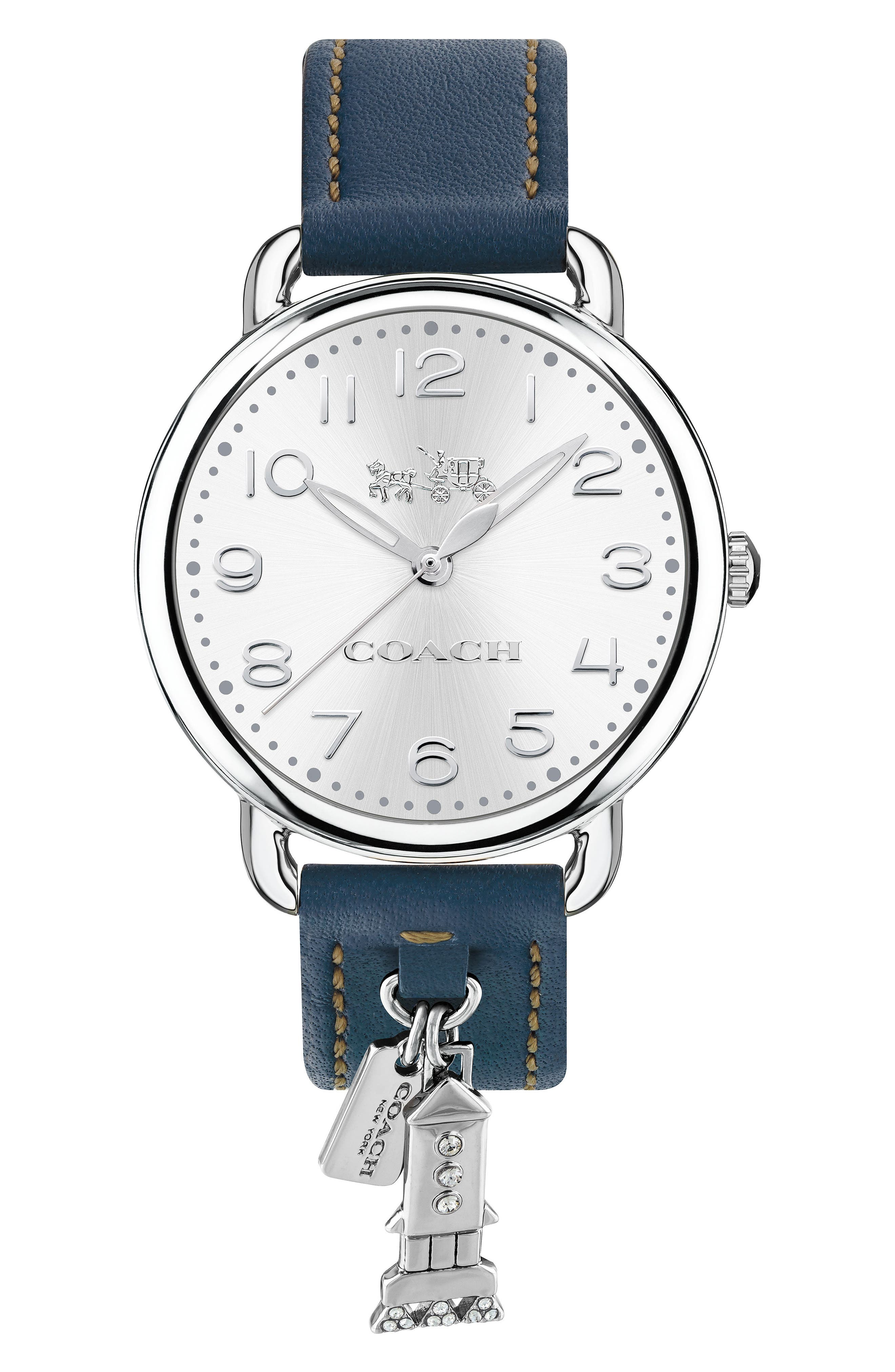 Delancey Charm Detail Leather Strap Watch, 36mm,                             Main thumbnail 1, color,                             BLUE/ SILVER