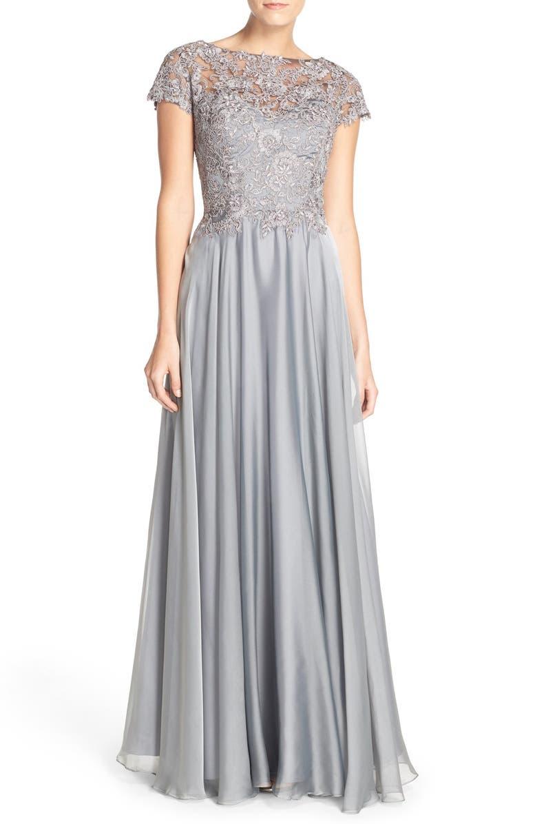 La Femme Embellished Lace & Satin Ballgown | Nordstrom