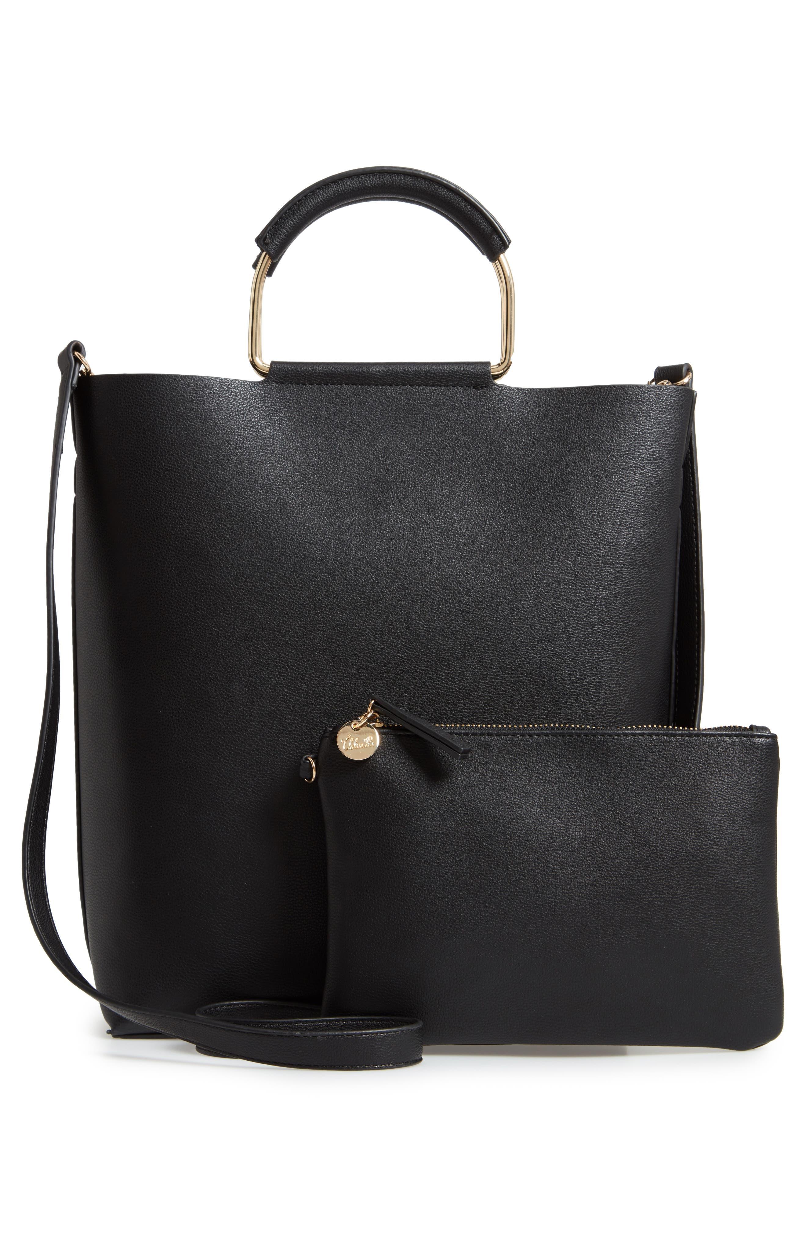 Payton Convertible Faux Leather Tote,                             Alternate thumbnail 3, color,                             BLACK