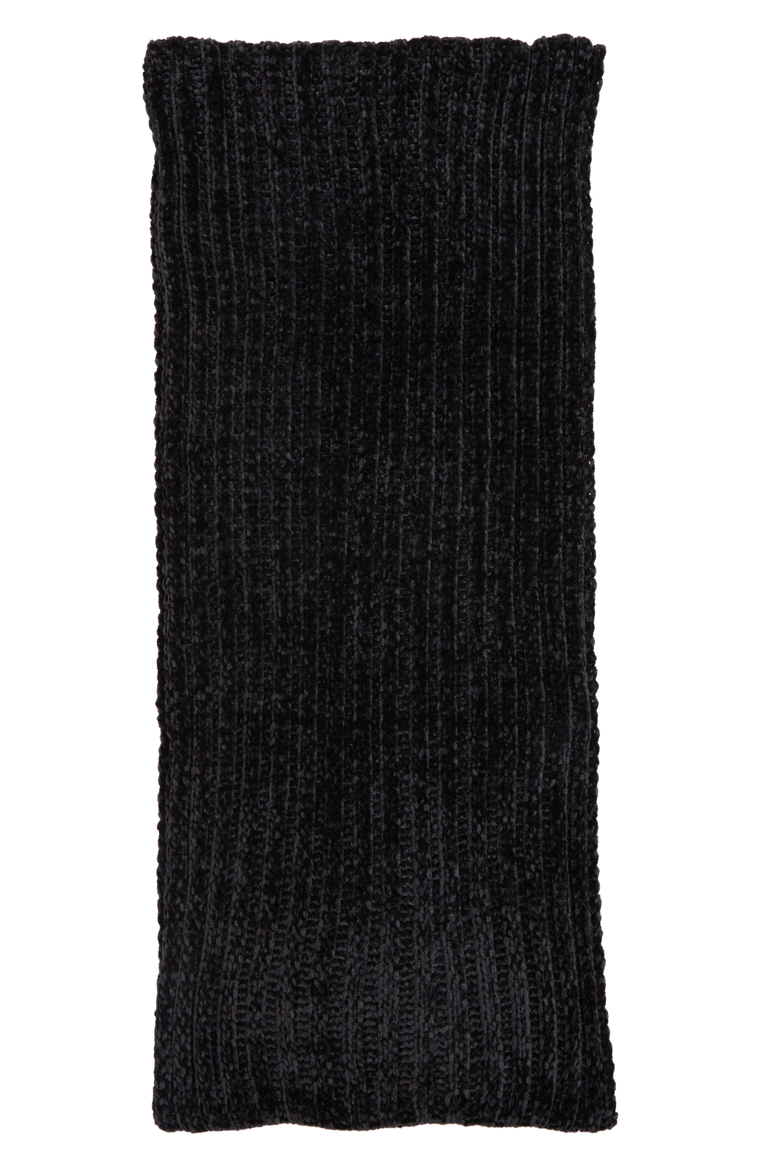 Chenille Infinity Scarf,                             Alternate thumbnail 3, color,                             BLACK