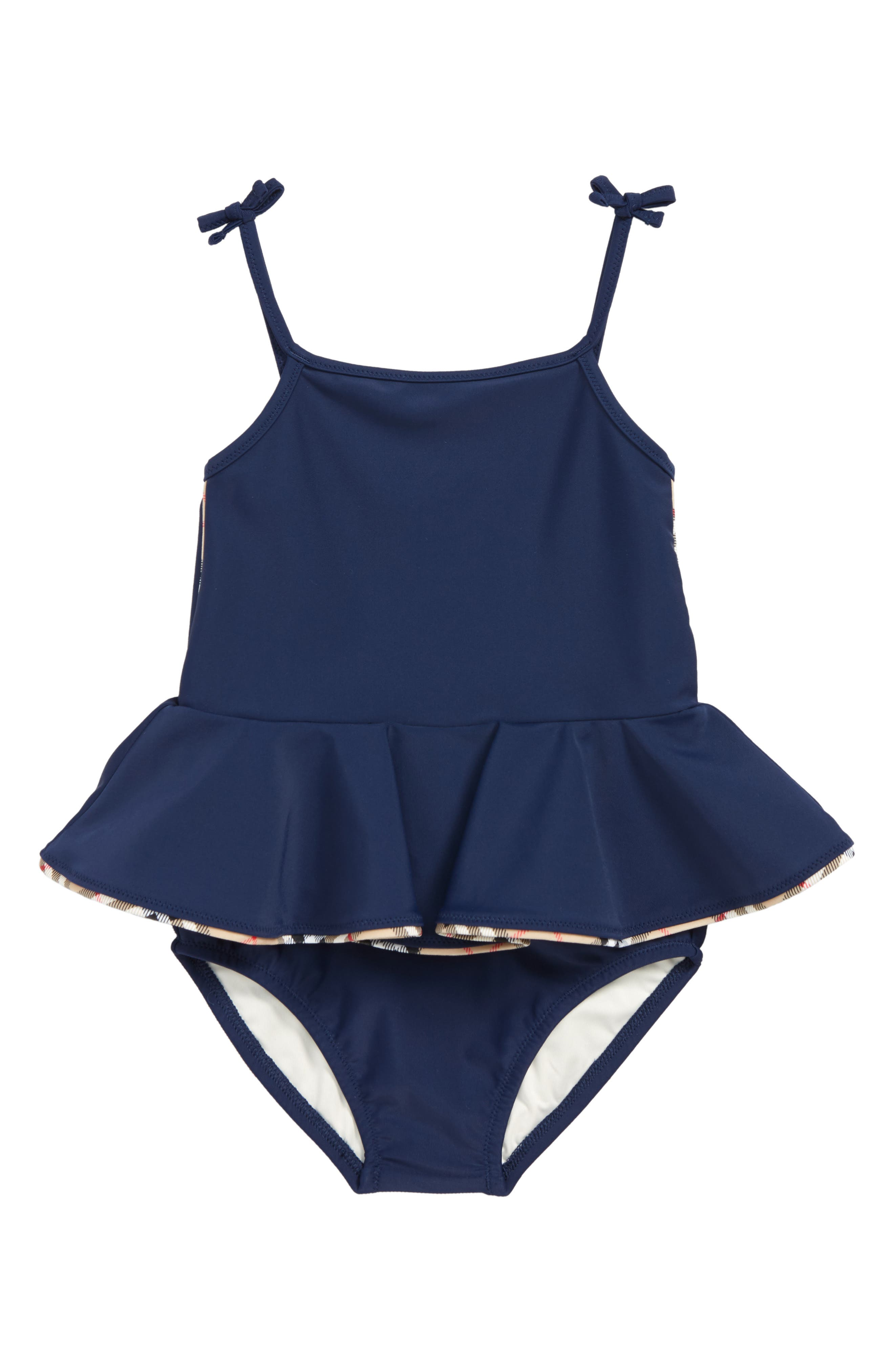 Ludine Skirted One-Piece Swimsuit,                         Main,                         color, NAVY
