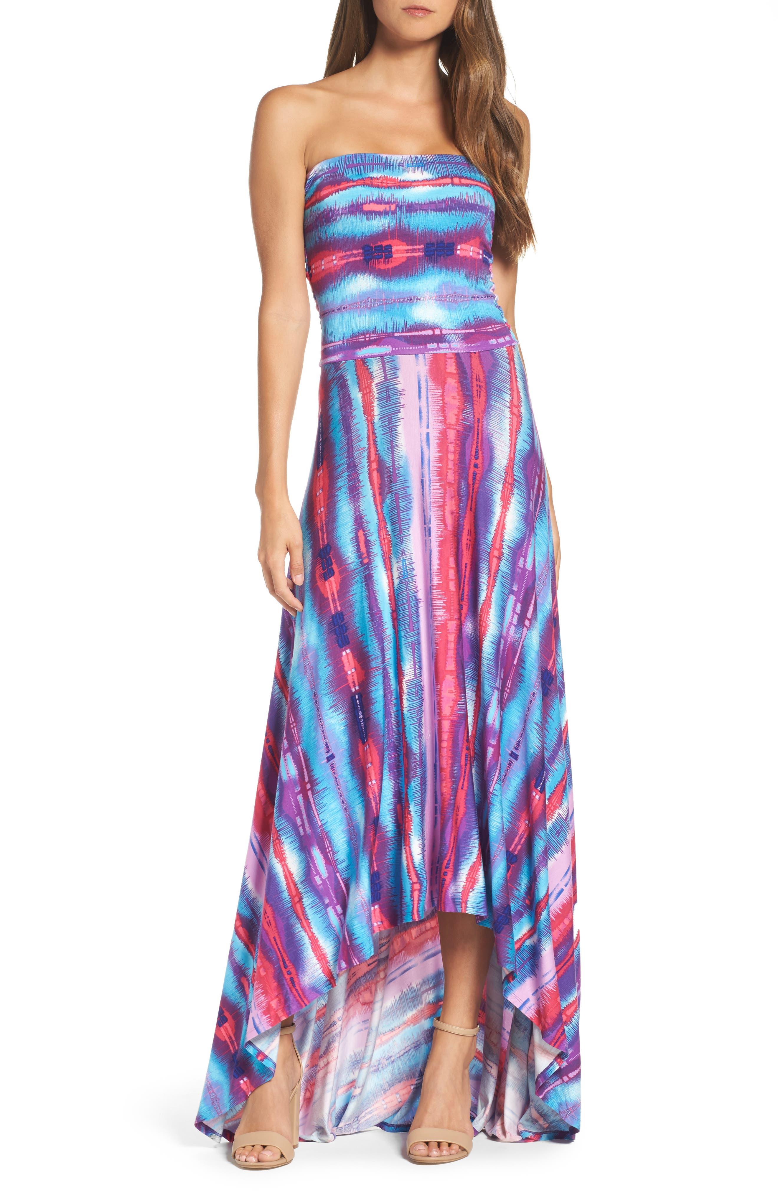 Strapless Neon Print Maxi Dress,                         Main,                         color, 429
