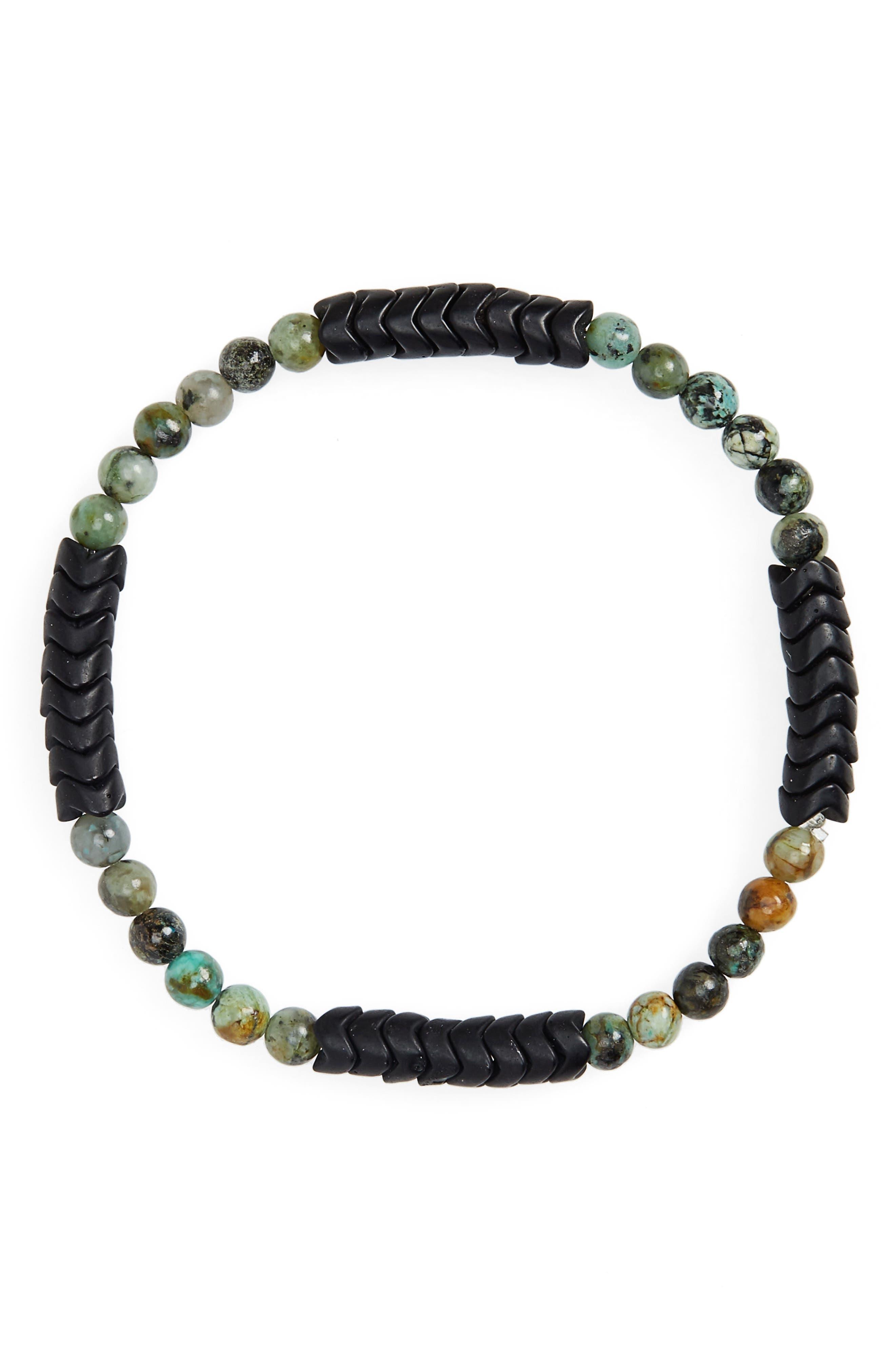 Turquoise Bead Bracelet,                         Main,                         color, GREEN