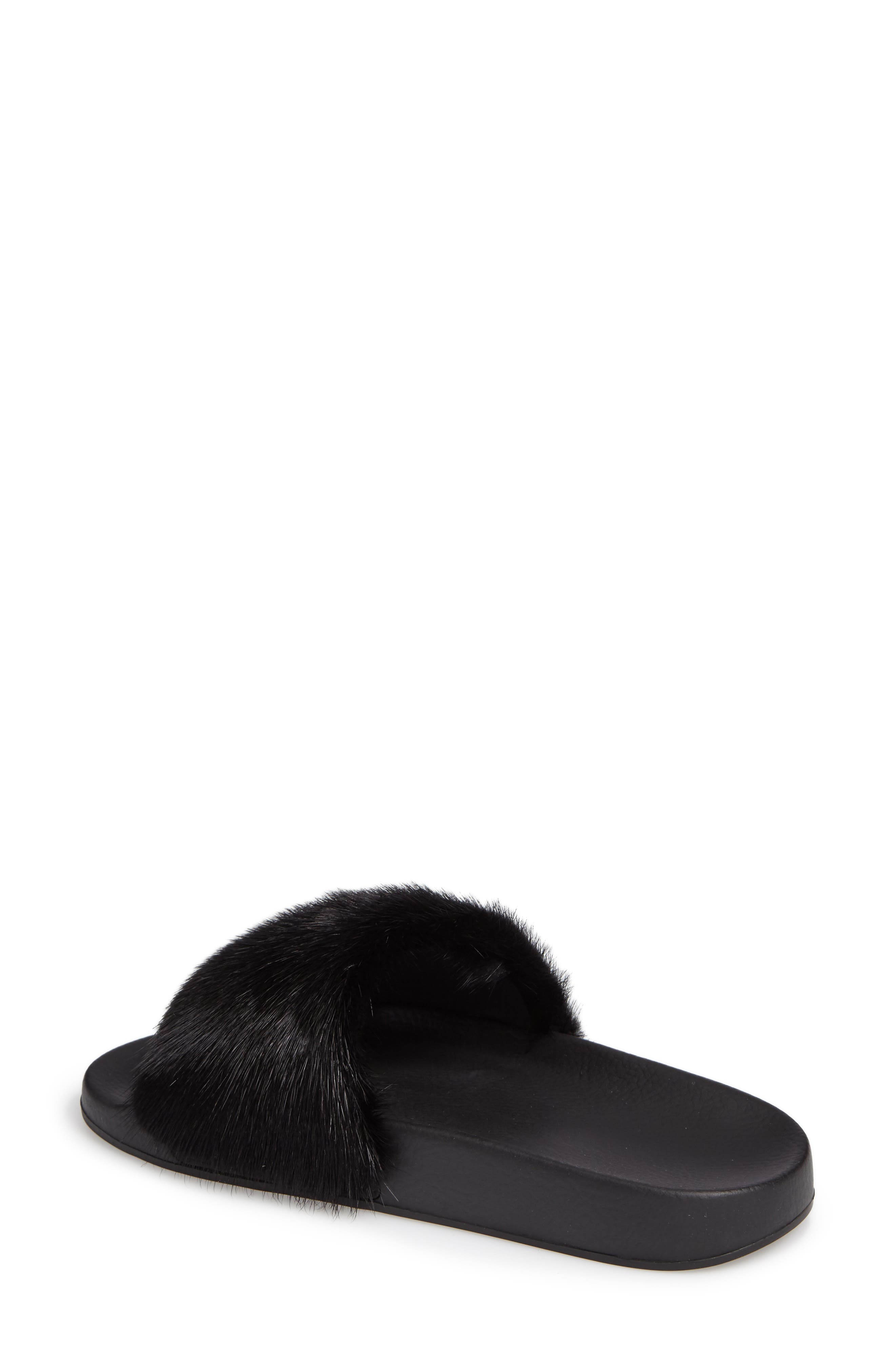 Genuine Mink Fur Slide Sandal,                             Alternate thumbnail 2, color,                             BLACK MINK