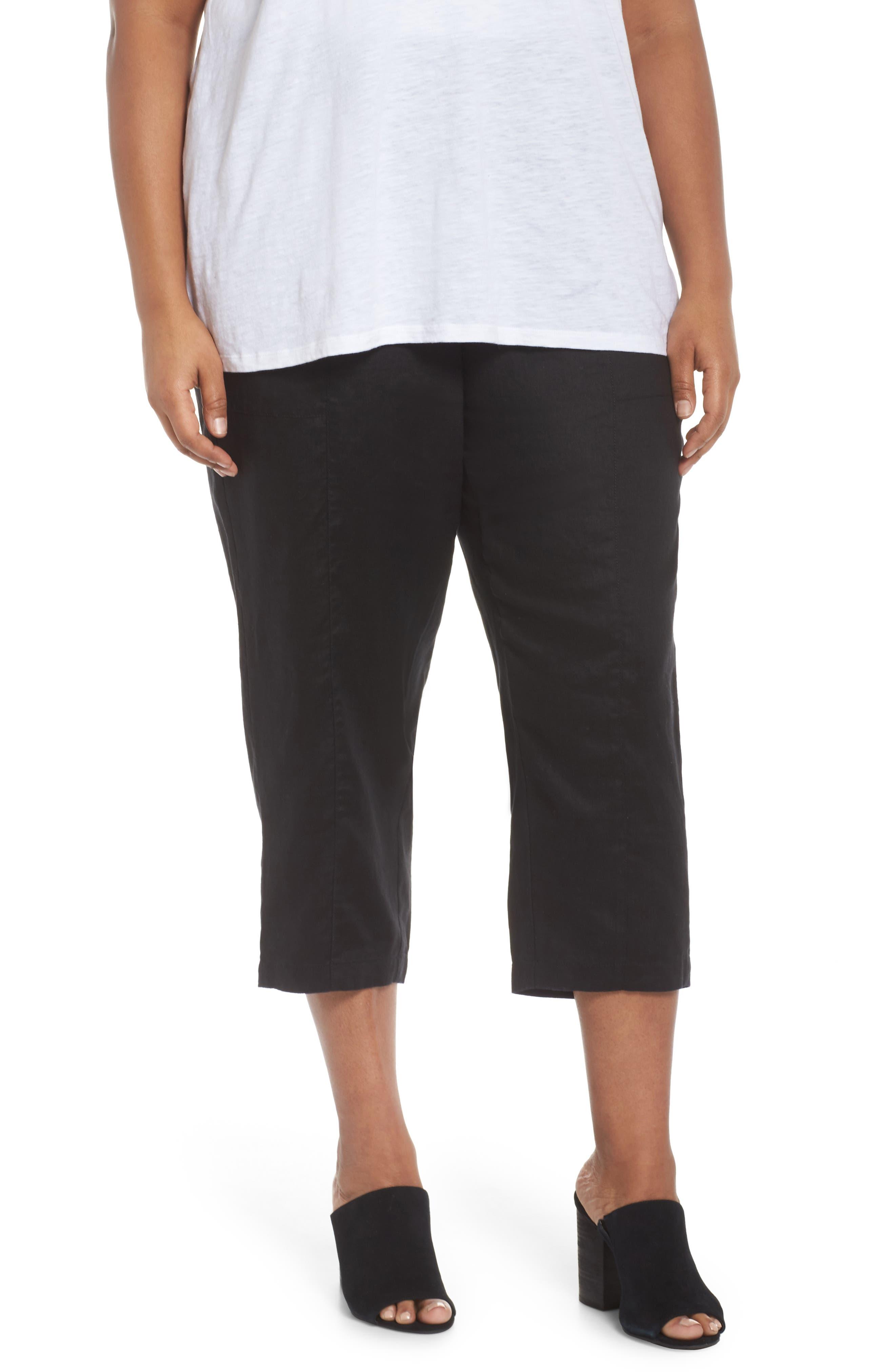 Linen Ankle Pants,                         Main,                         color, BLACK