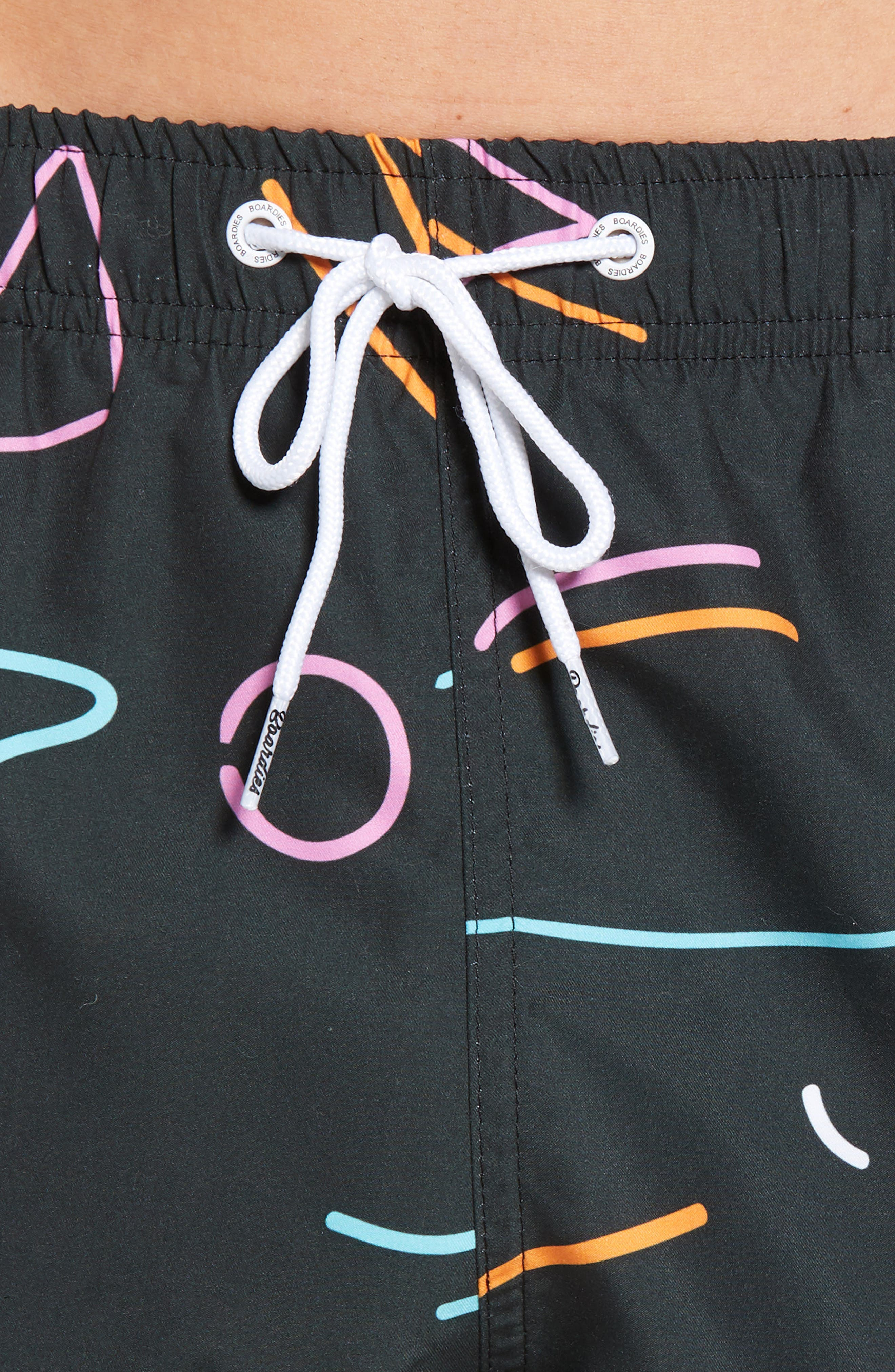 Neon Nights Black Swim Shorts,                             Alternate thumbnail 4, color,                             001