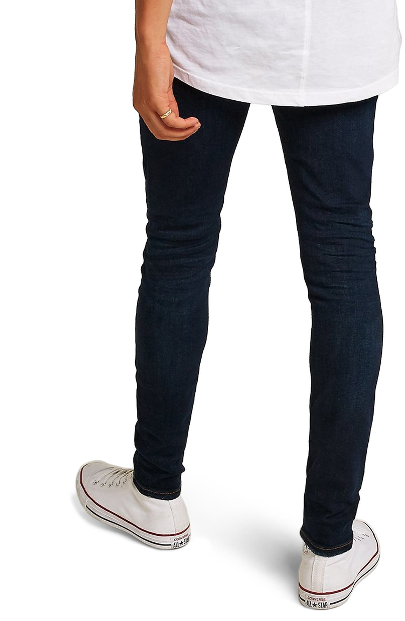 Skinny Fit Ripped Spray-On Jeans,                             Alternate thumbnail 2, color,                             BLUE