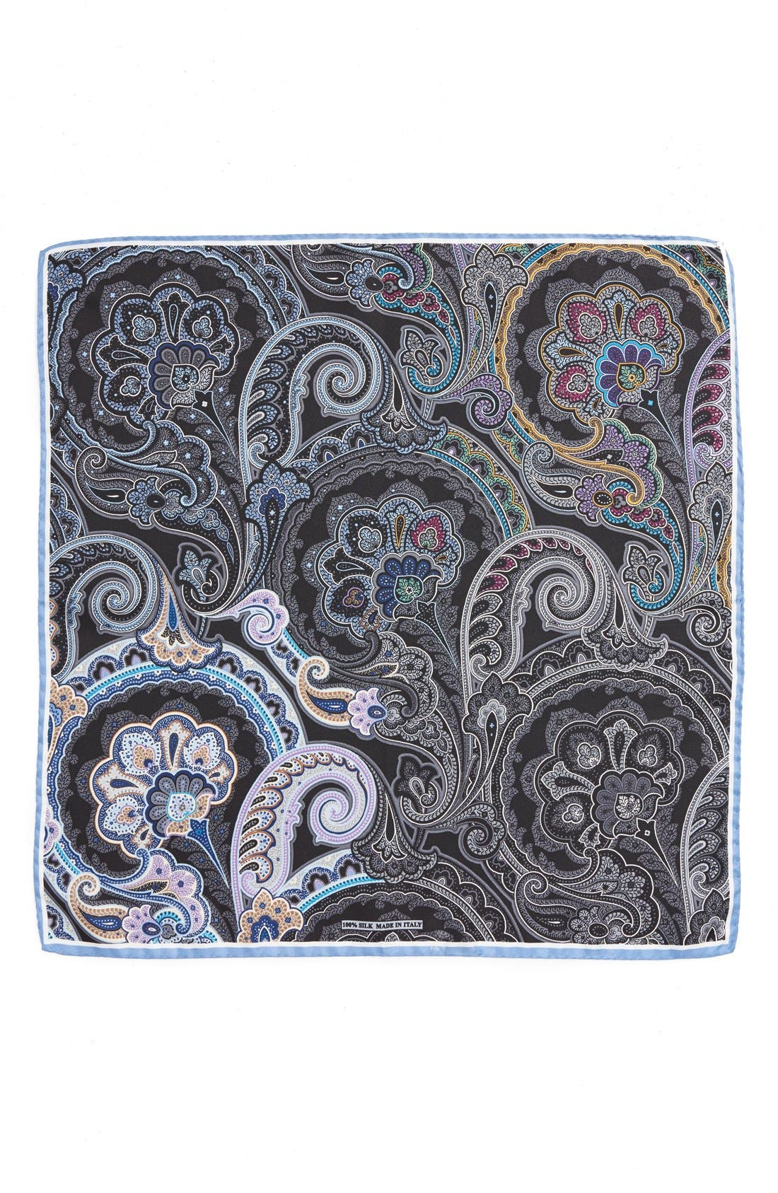Paisley Silk Pocket Square,                             Alternate thumbnail 2, color,                             BLACK