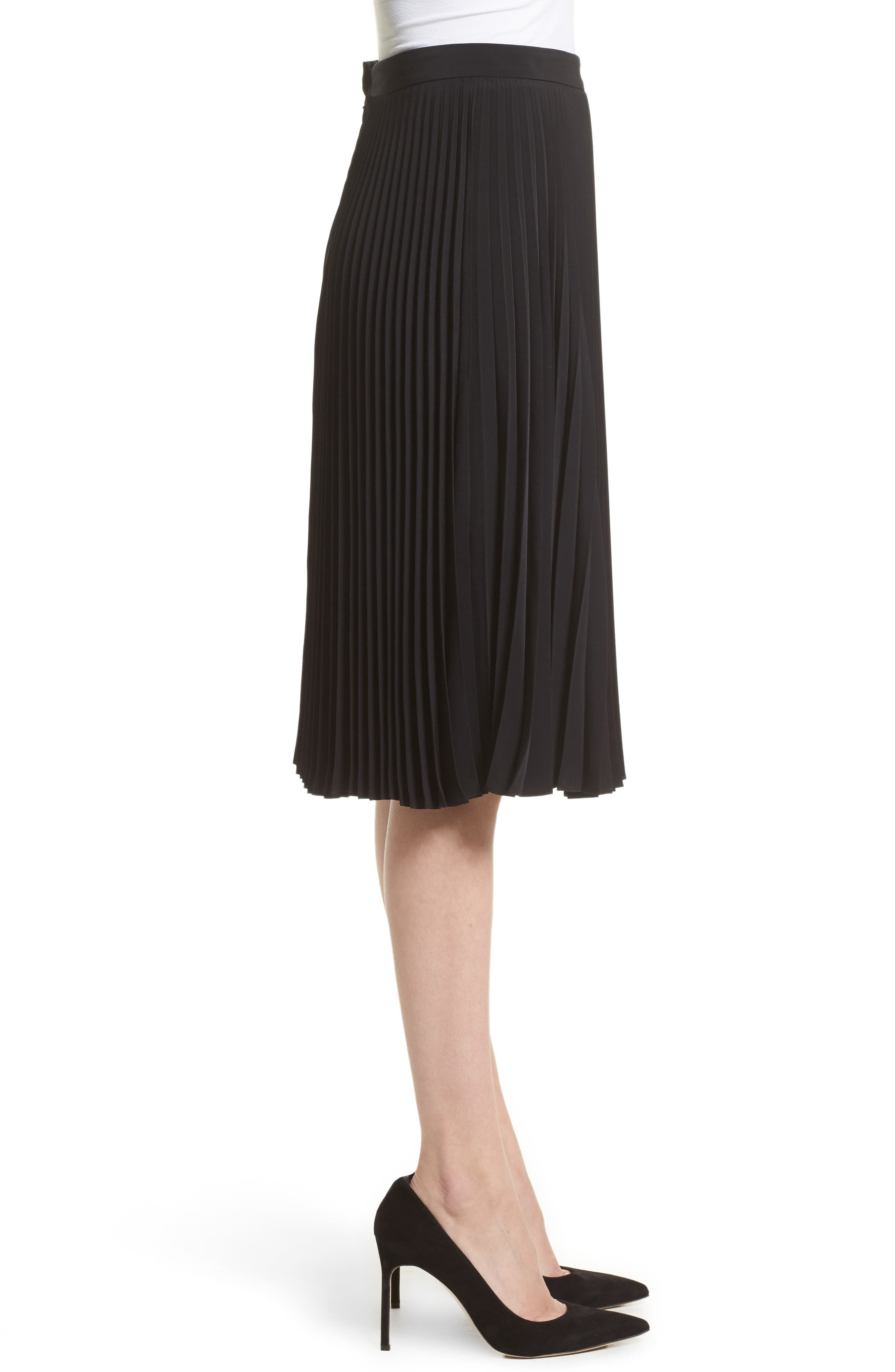 Gates Pleated Skirt,                             Alternate thumbnail 3, color,                             001