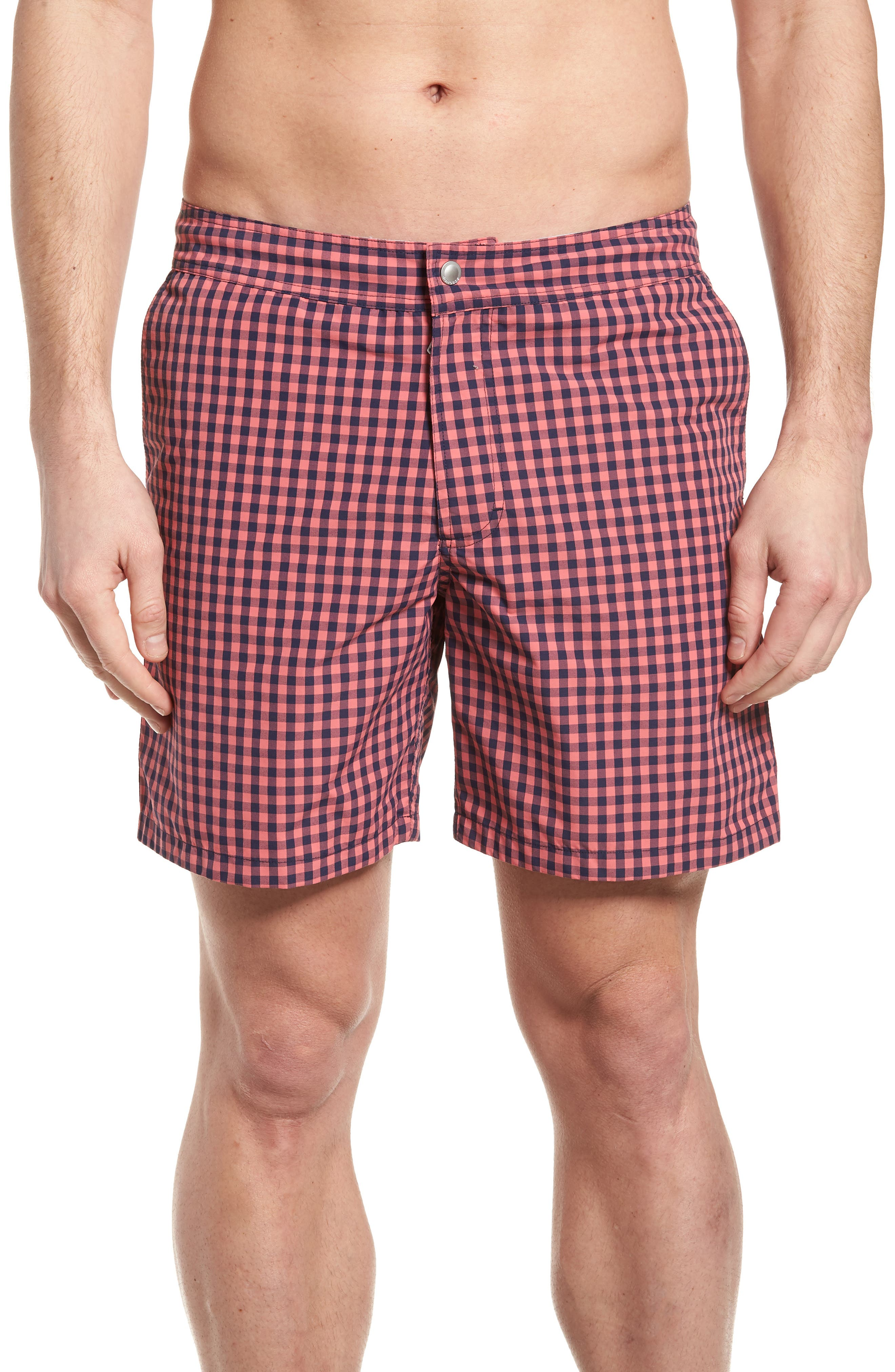 Gingham 7-Inch Swim Trunks,                         Main,                         color,