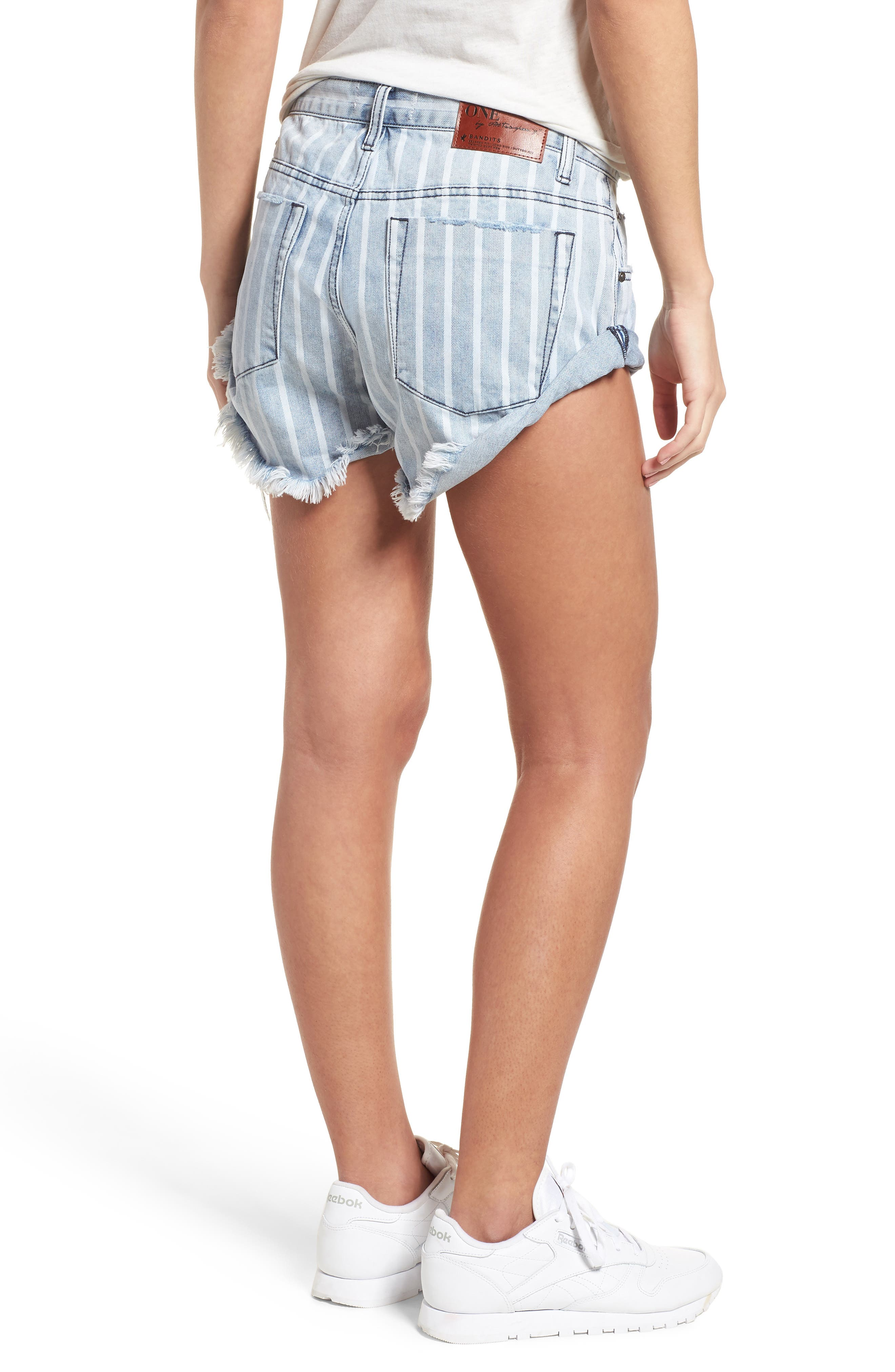 Bandit Stripe Denim Shorts,                             Alternate thumbnail 2, color,                             400
