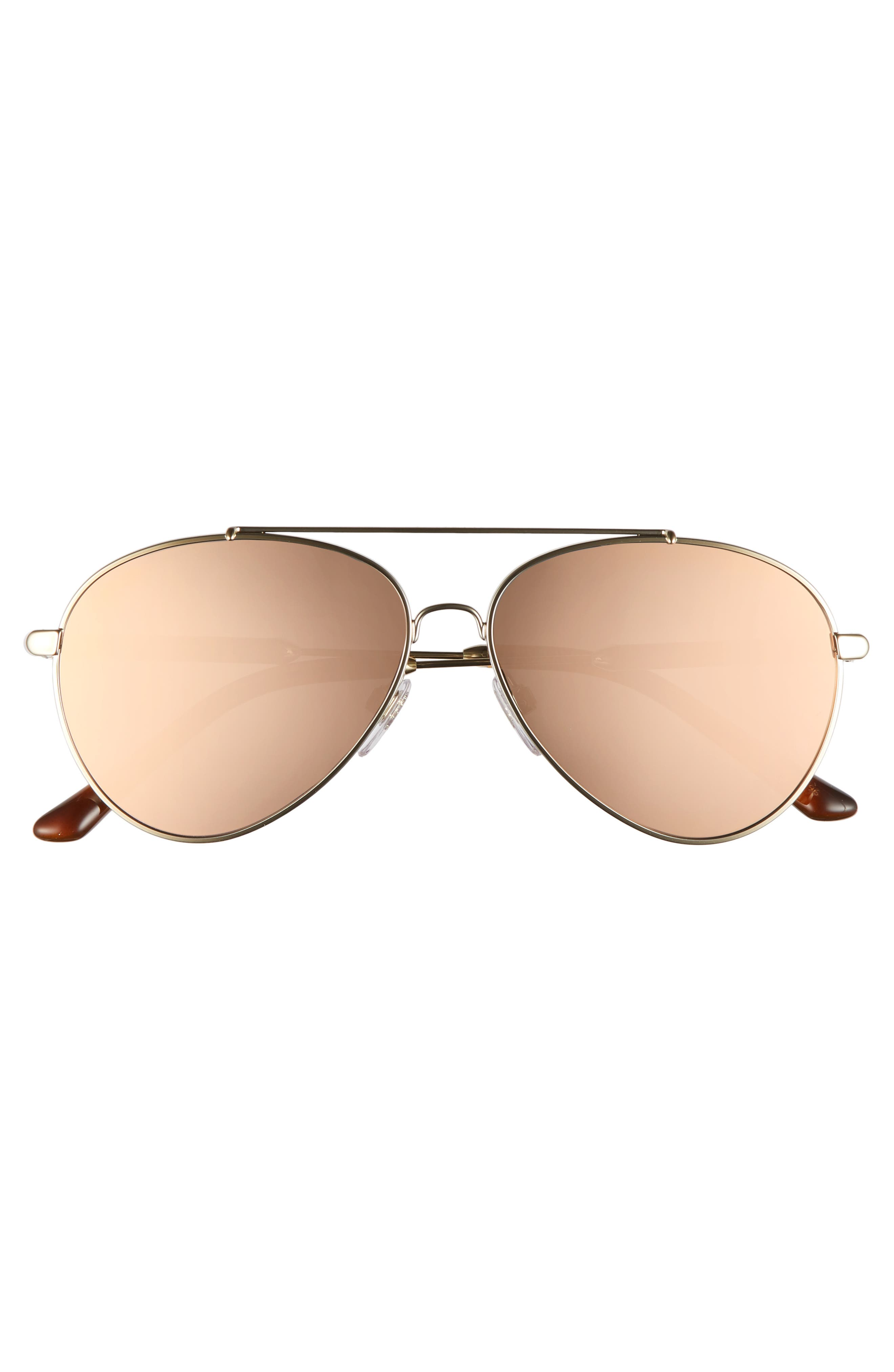 57mm Mirrored Aviator Sunglasses,                             Alternate thumbnail 3, color,                             031