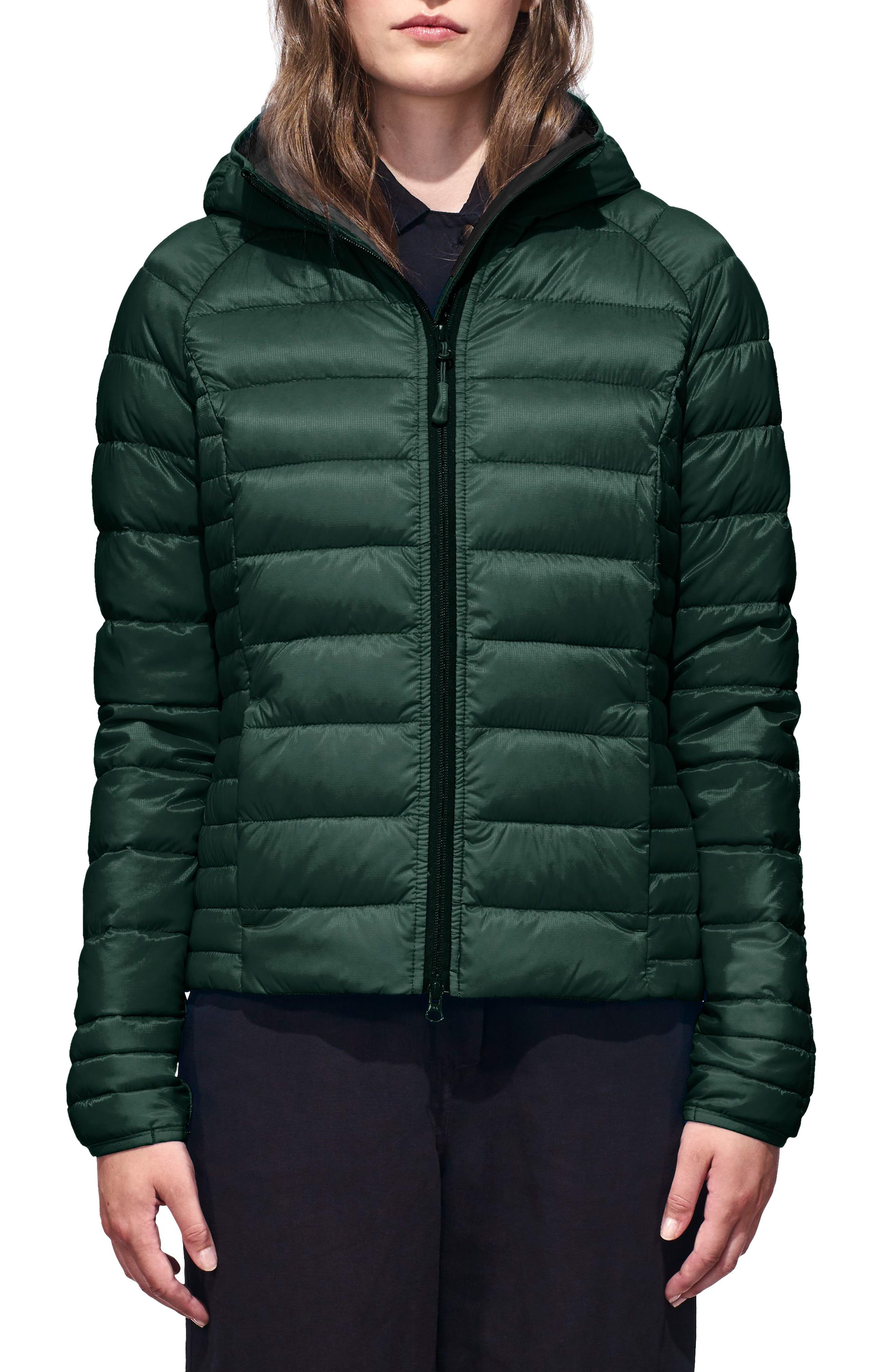 'Brookvale' Packable Hooded Quilted Down Jacket,                             Main thumbnail 1, color,                             SPRUCE/BLACK