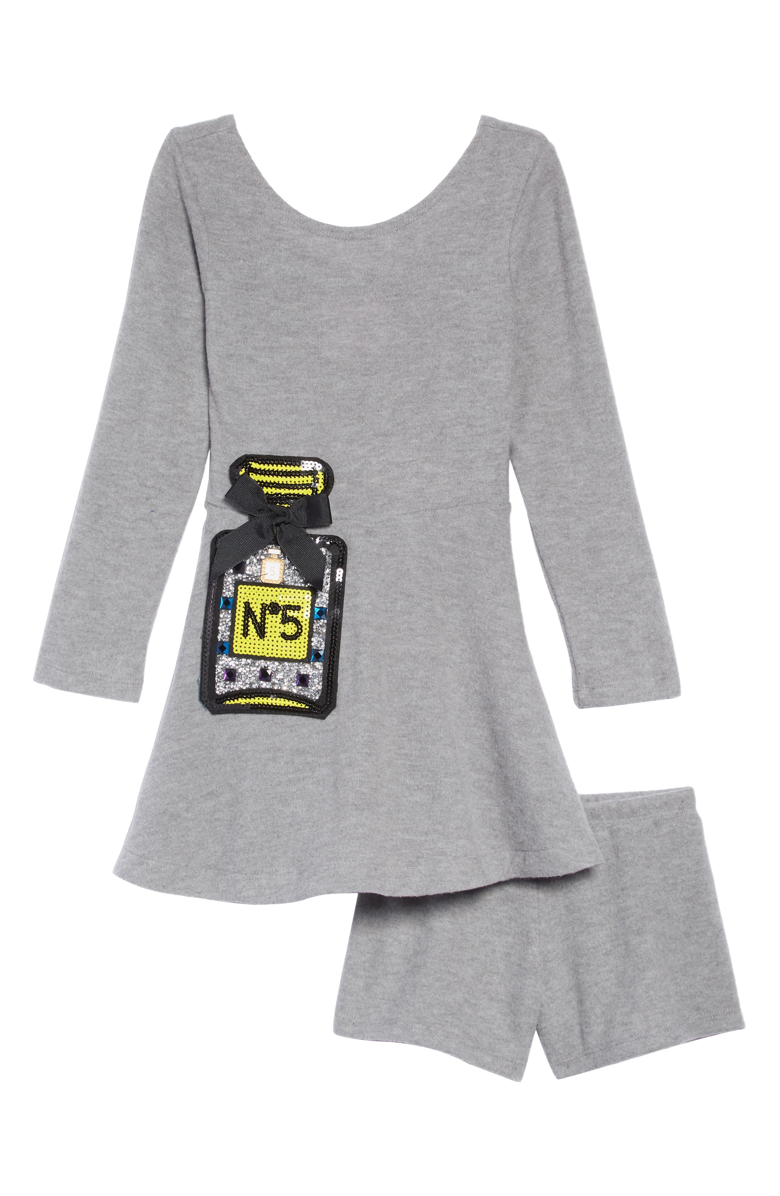 Sequin Appliqué Knit Skater Dress,                         Main,                         color, 020