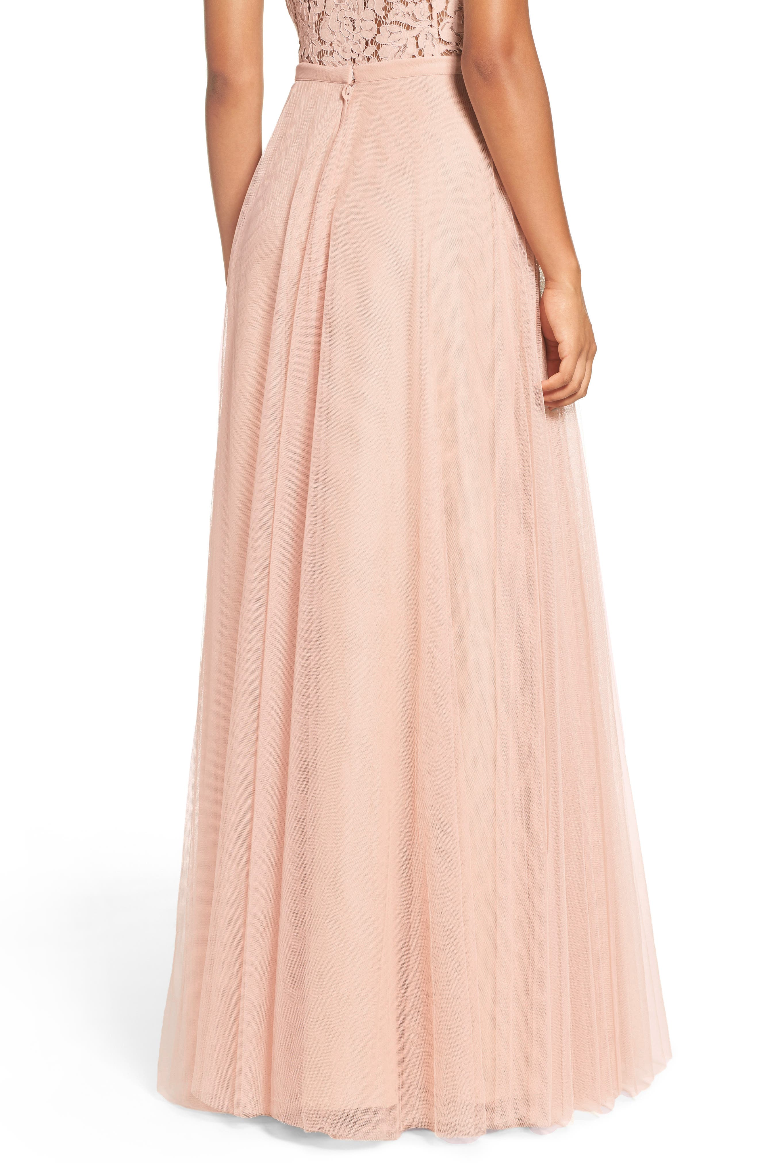 Winslow Long Tulle A-Line Skirt,                             Alternate thumbnail 3, color,                             CAMEO PINK