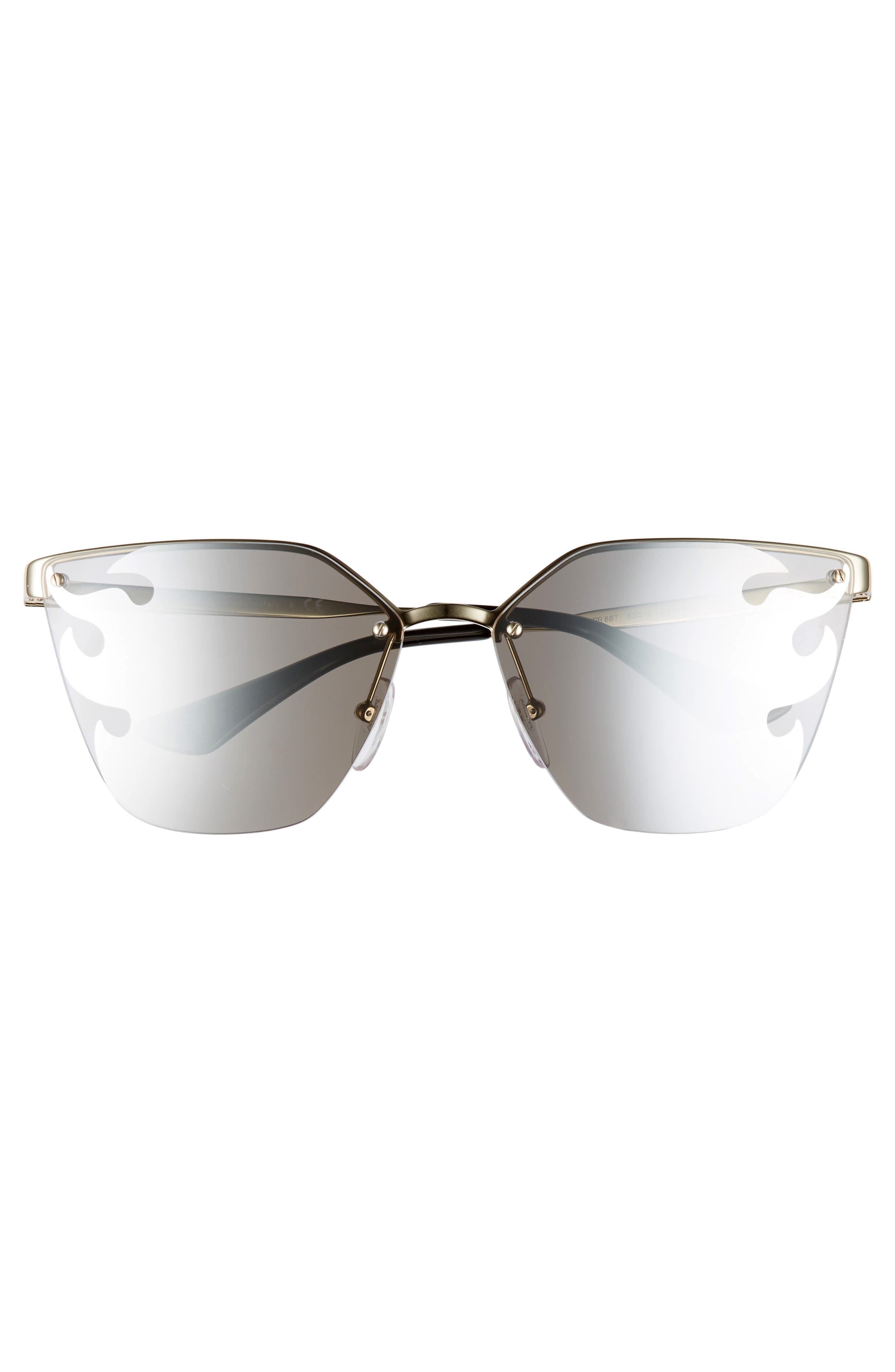 PRADA,                             Cinéma 63mm Oversize Rimless Sunglasses,                             Alternate thumbnail 3, color,                             GOLD/ GREY SILVER MIRROR