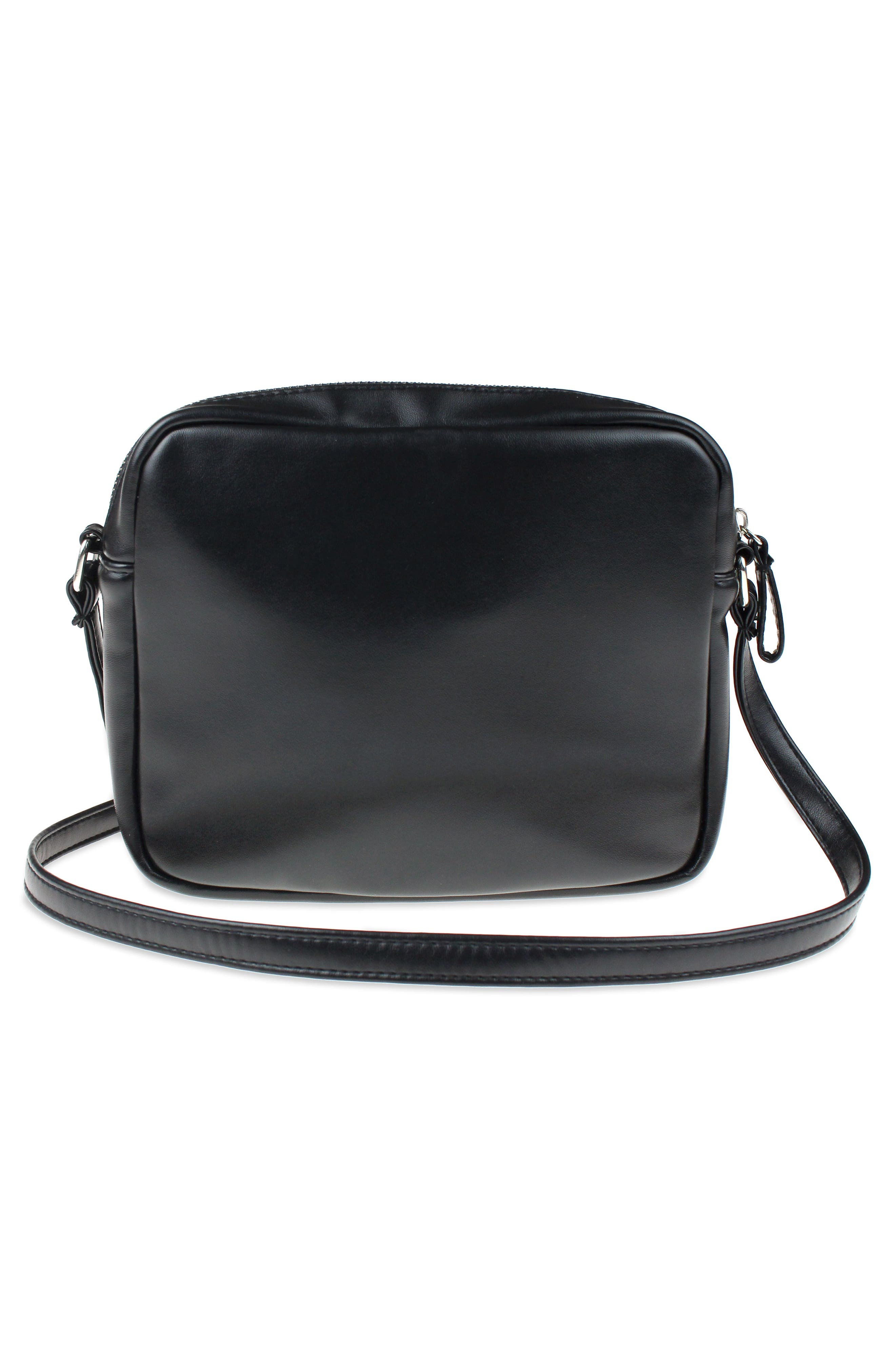 LED Light-Up Smiley Faux Leather Crossbody Bag,                             Alternate thumbnail 2, color,                             002