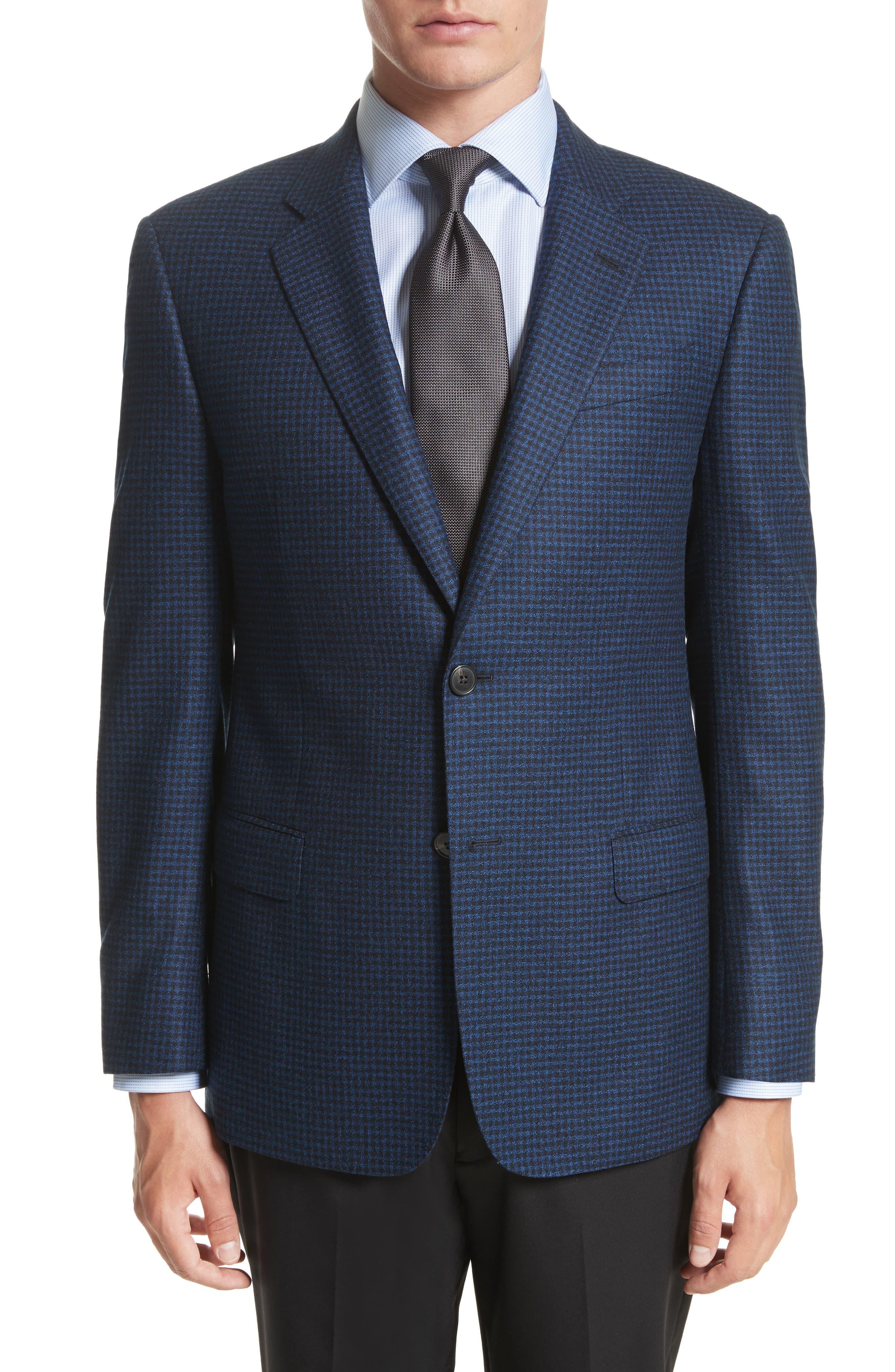 ARMANI COLLEZIONI G-Line Trim Fit Check Wool Sport Coat, Main, color, 410