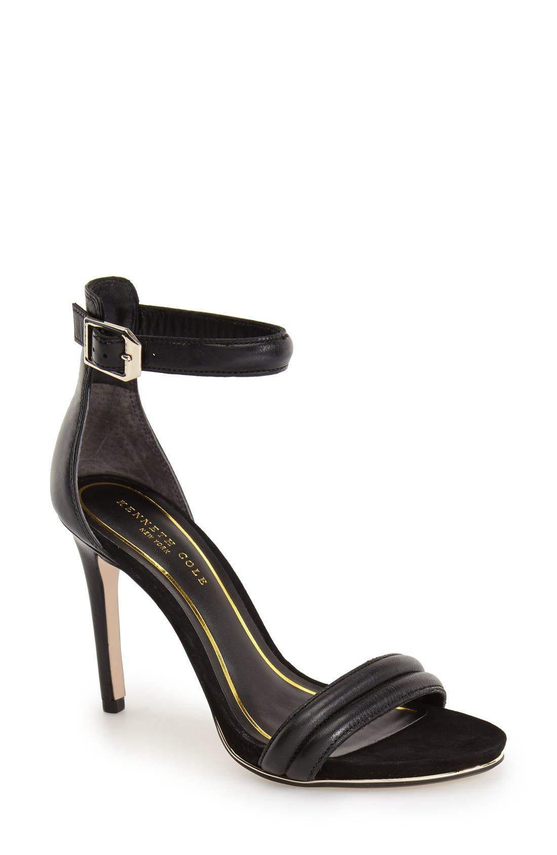 KENNETH COLE NEW YORK,                             'Brooke' Ankle Strap Sandal,                             Main thumbnail 1, color,                             BLACK LEATHER