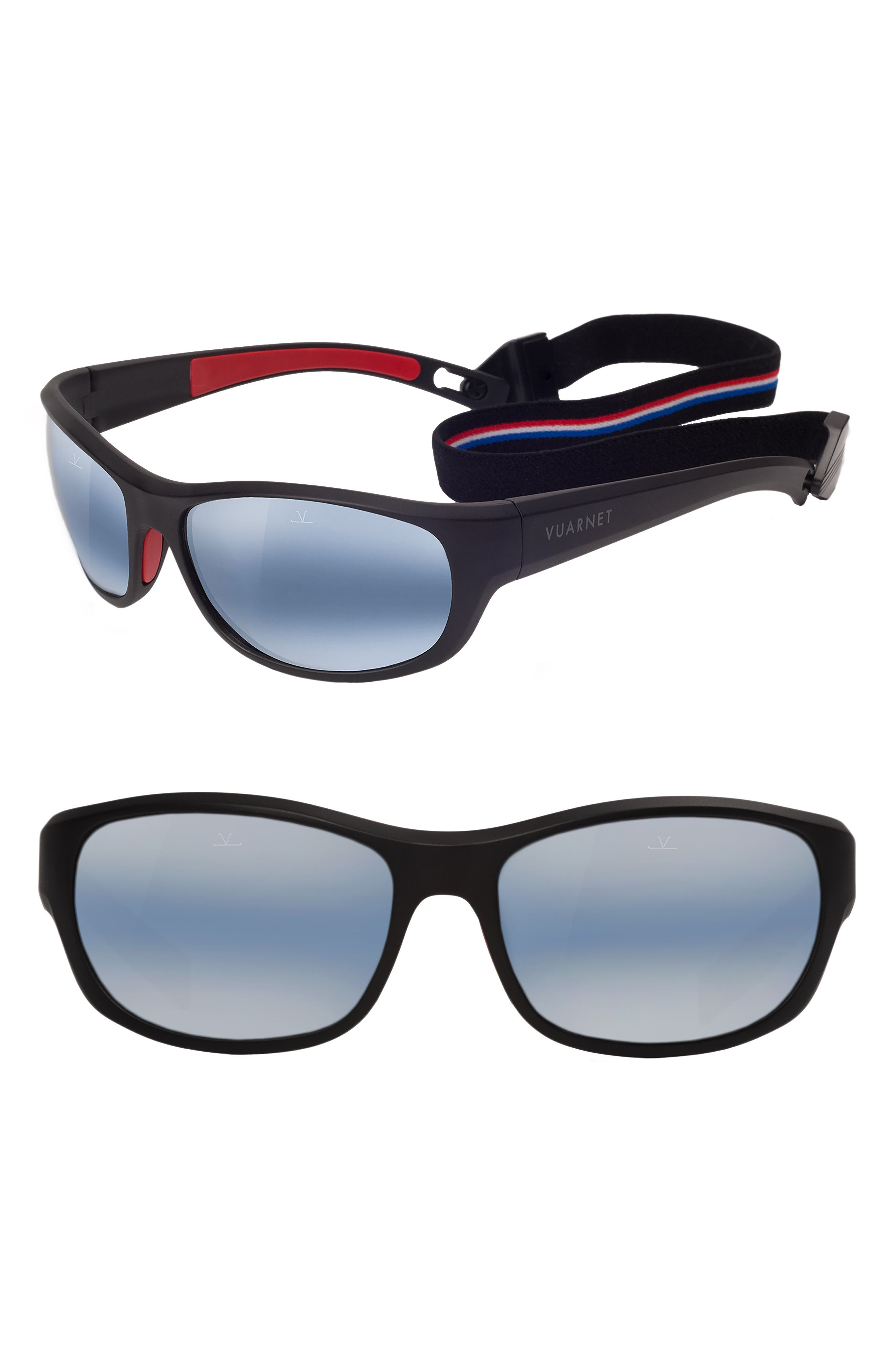 VUARNET,                             Medium Cup 62mm Polarized Sunglasses,                             Main thumbnail 1, color,                             MATT BLACK / RED