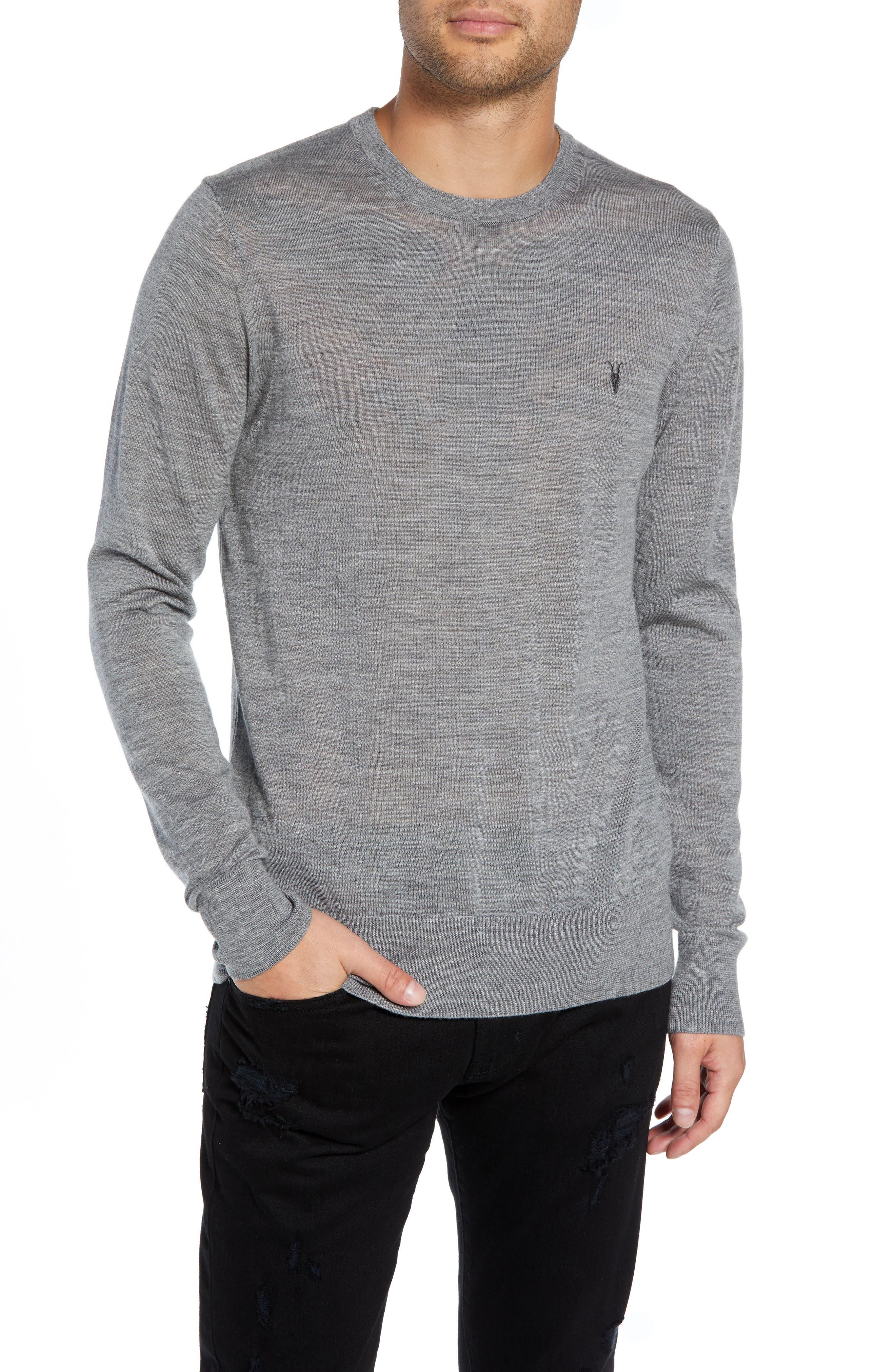 ALLSAINTS Mode Slim Fit Merino Wool Sweater in Grey Marl