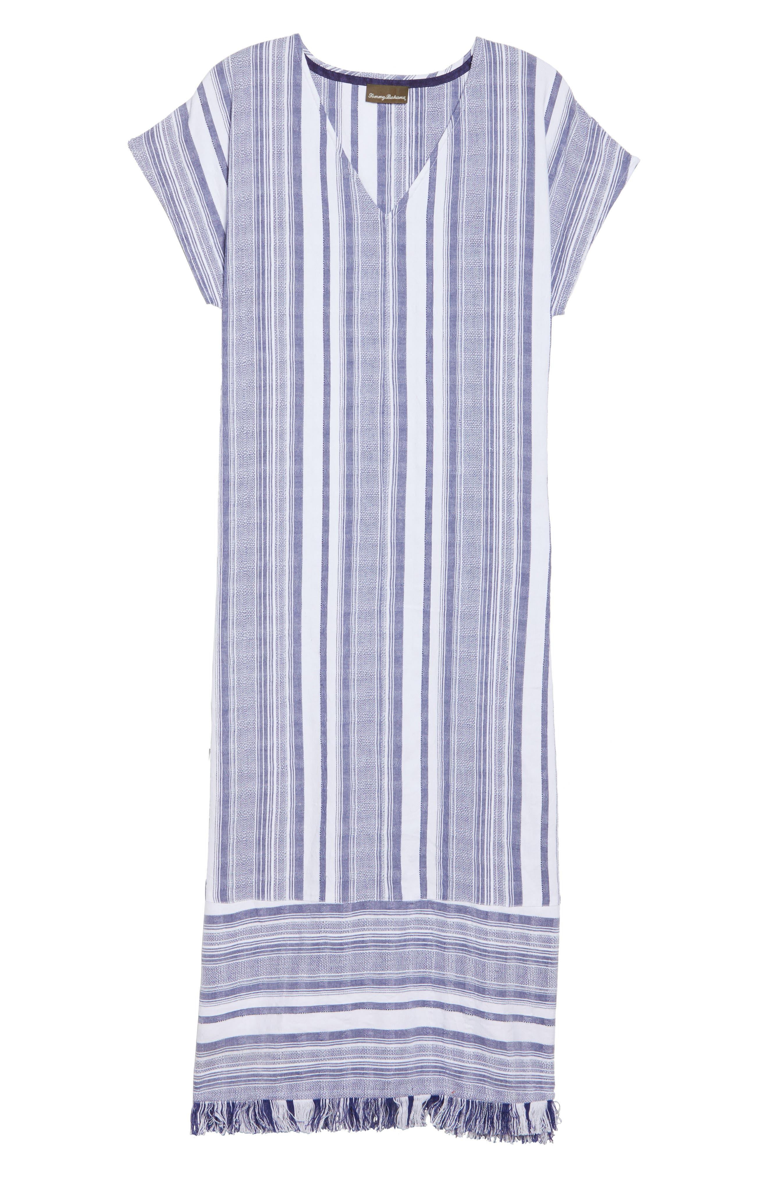 Yarn Dye Stripe Cover-Up Dress,                             Alternate thumbnail 6, color,                             100