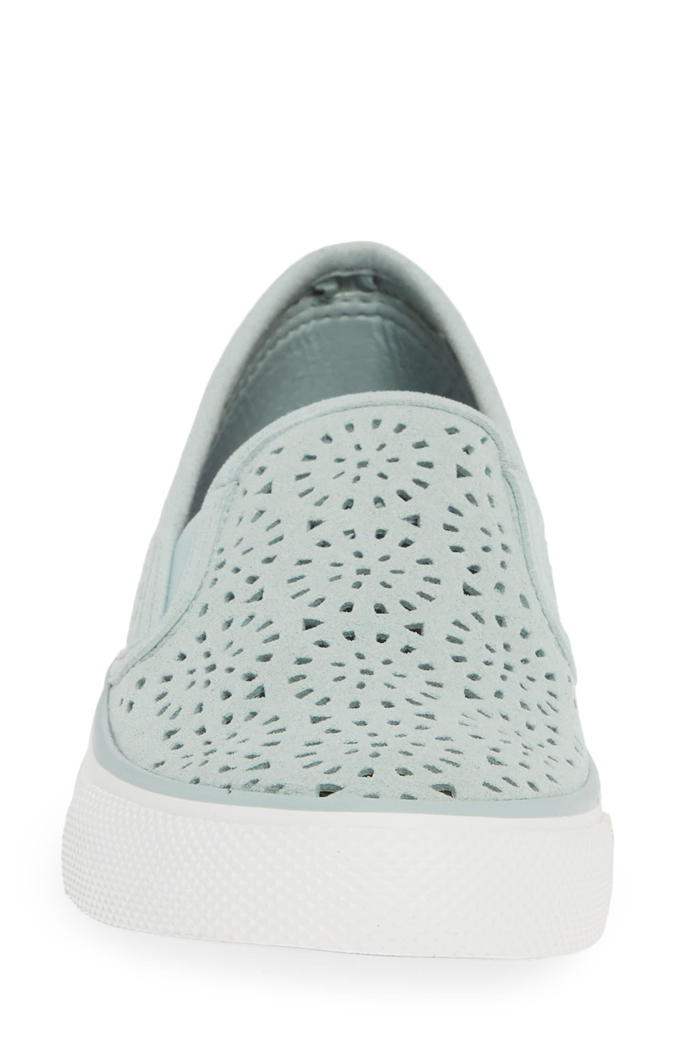 Seaside Nautical Perforated Slip-On Sneaker,                             Alternate thumbnail 4, color,                             MINT NUBUCK LEATHER