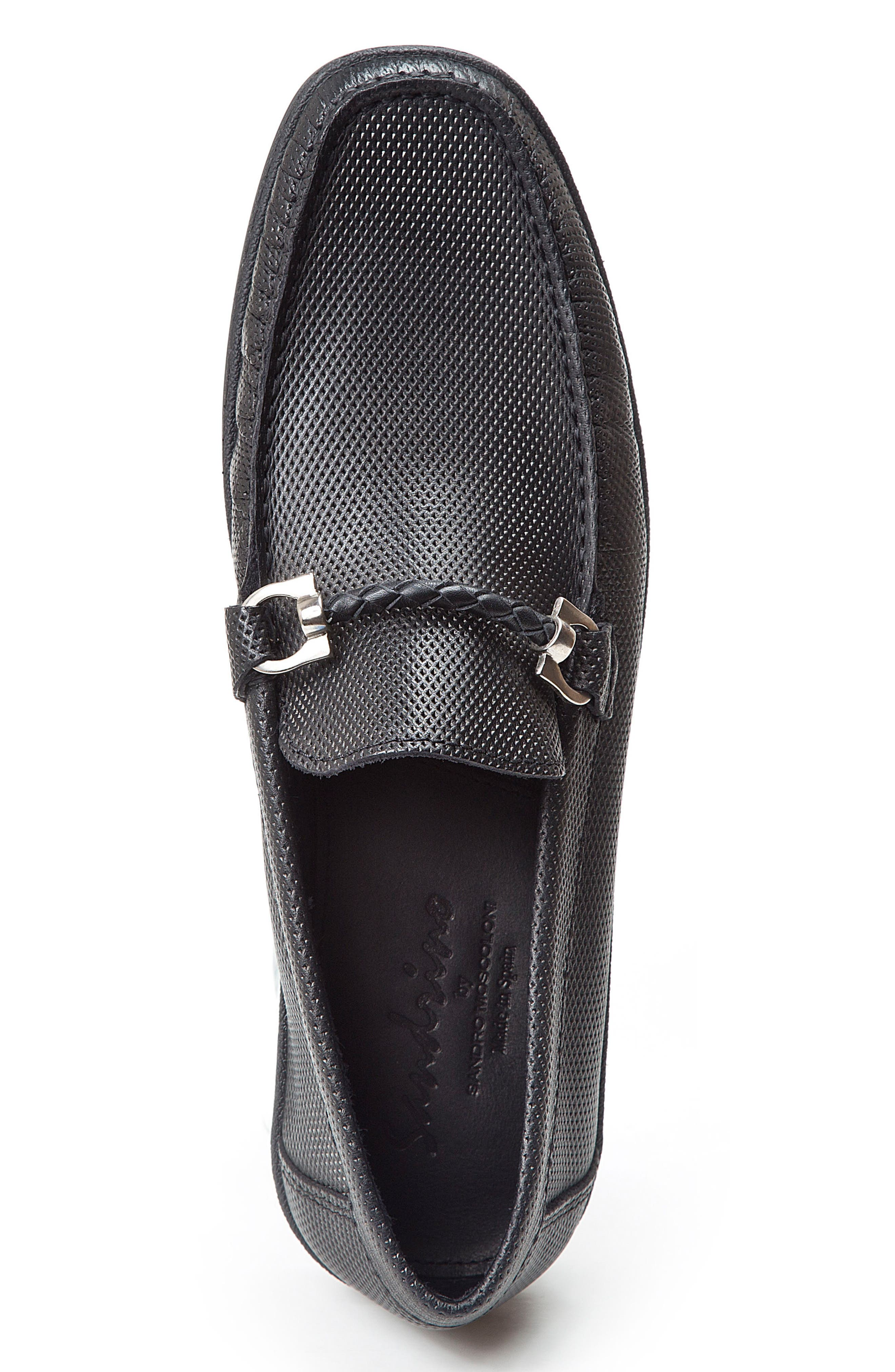 SANDRO MOSCOLONI,                             Benito Perforated Moc Toe Loafer,                             Alternate thumbnail 3, color,                             001
