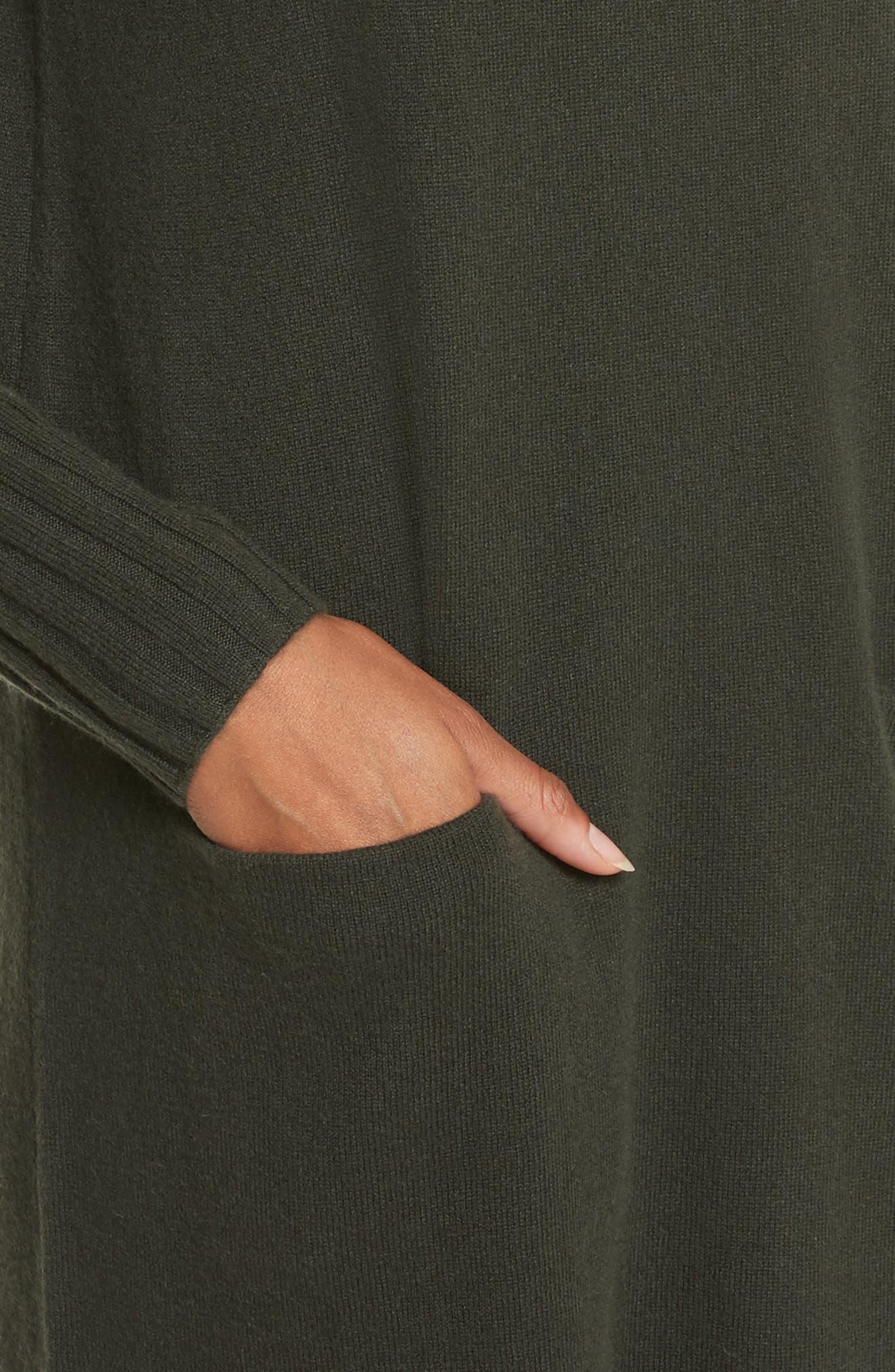 Cashmere Turtleneck Sweater Dress,                             Alternate thumbnail 4, color,                             300