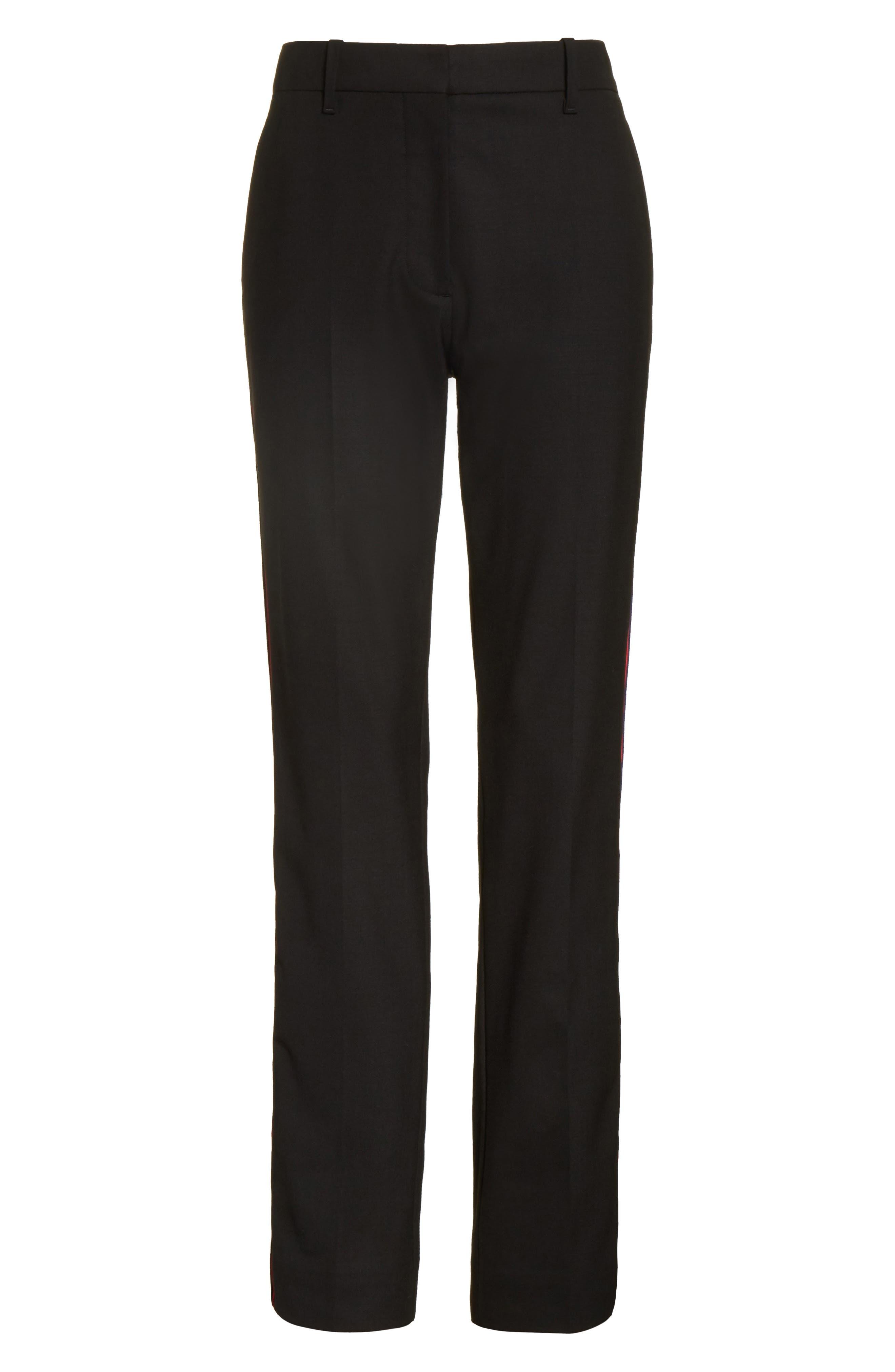 Velvet Stripe Stretch Wool Pants,                             Alternate thumbnail 6, color,                             001