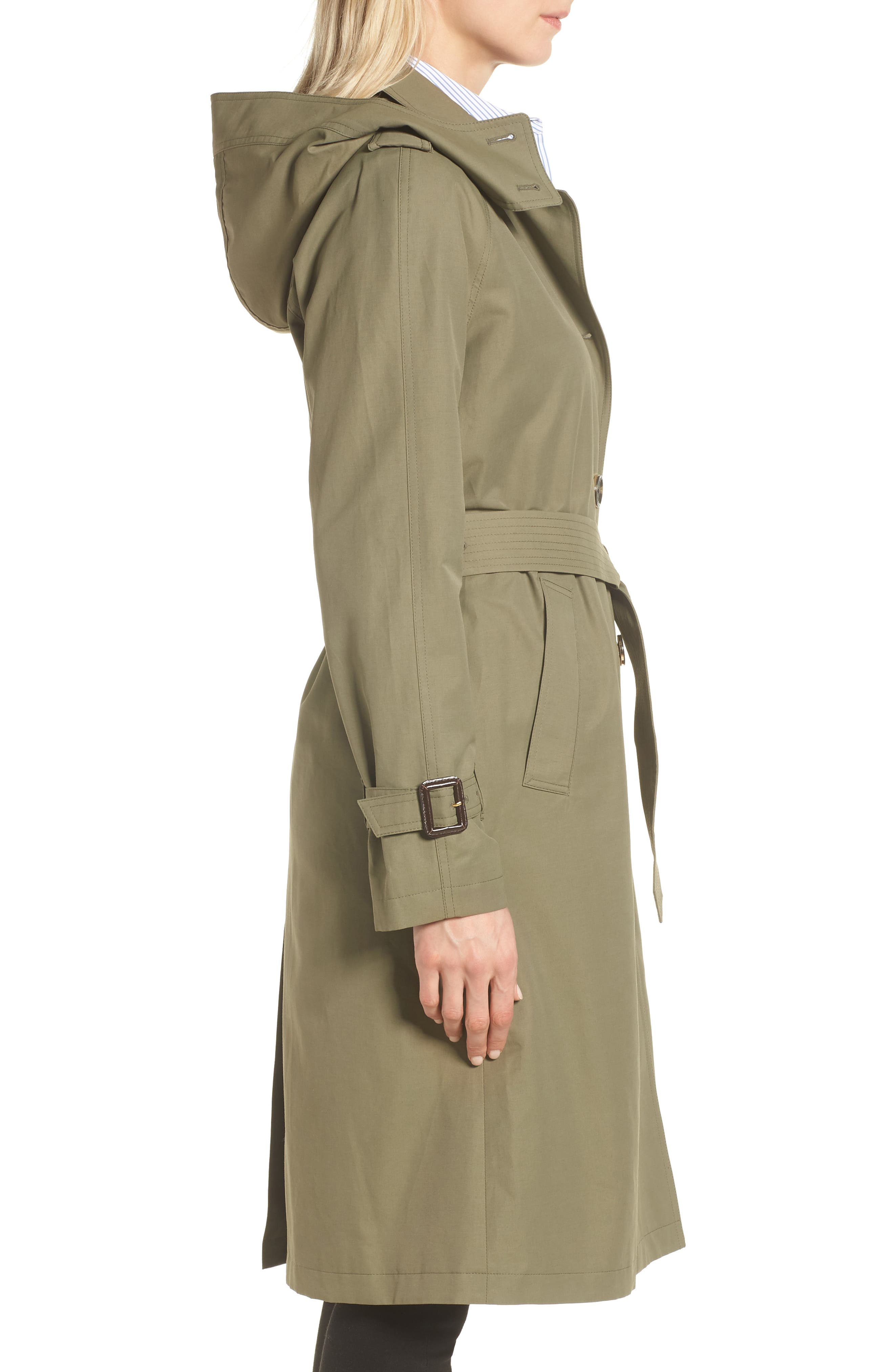 Hooded Trench Coat,                             Alternate thumbnail 3, color,                             ARMY