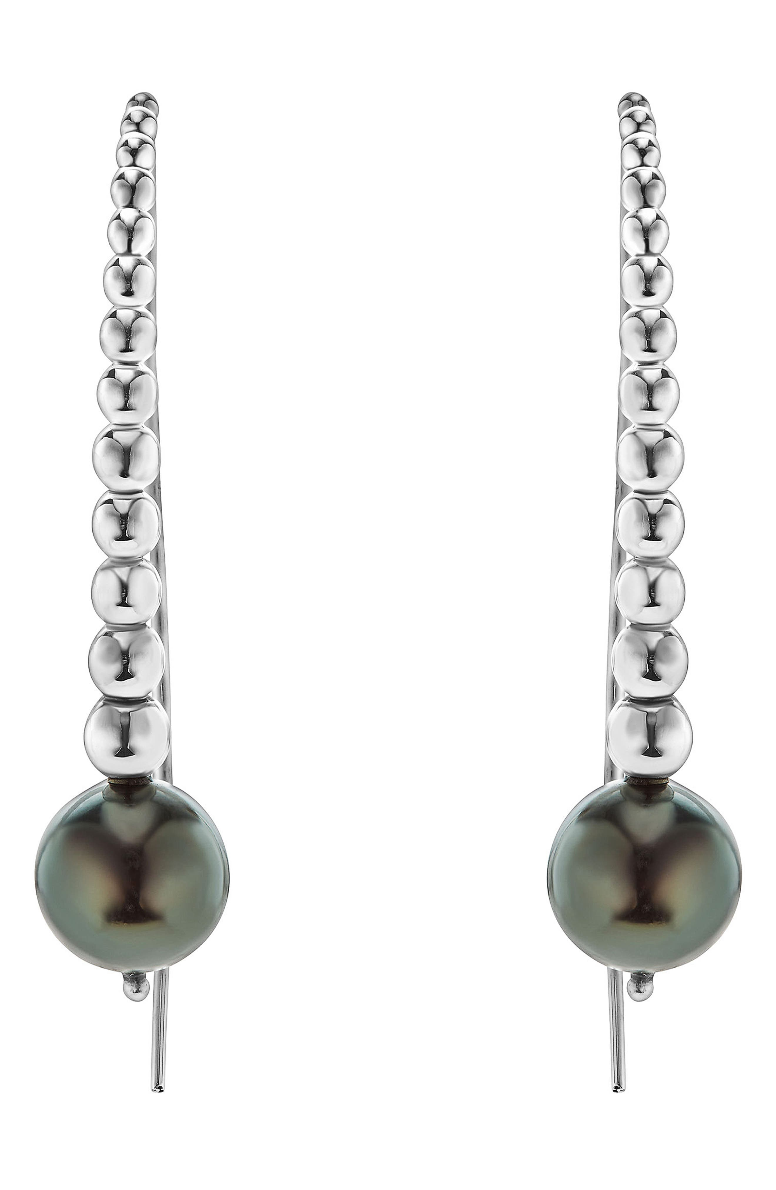 Threader Pearl Earrings,                             Main thumbnail 1, color,                             SILVER/ BLACK