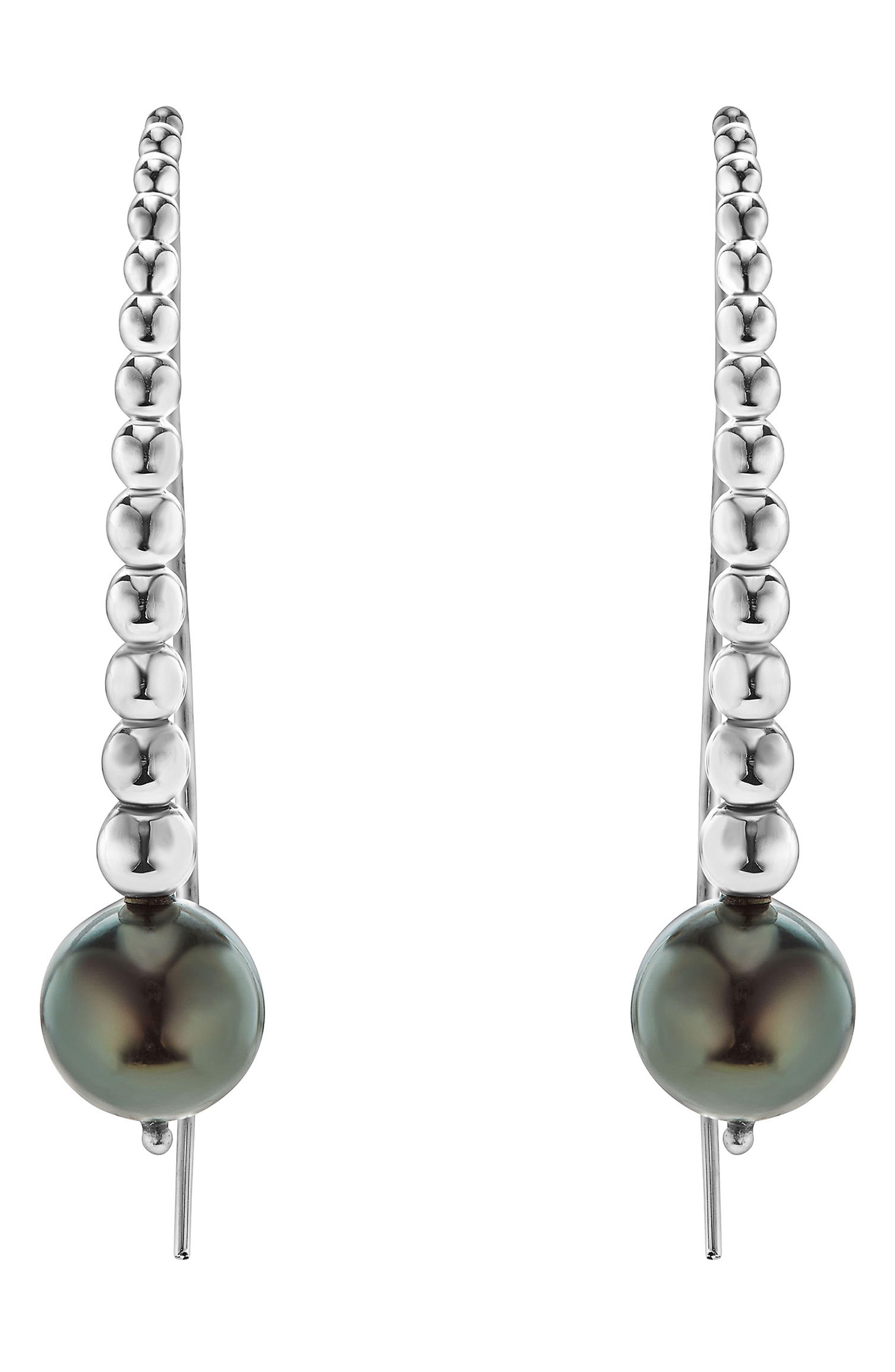 Threader Pearl Earrings,                         Main,                         color, SILVER/ BLACK